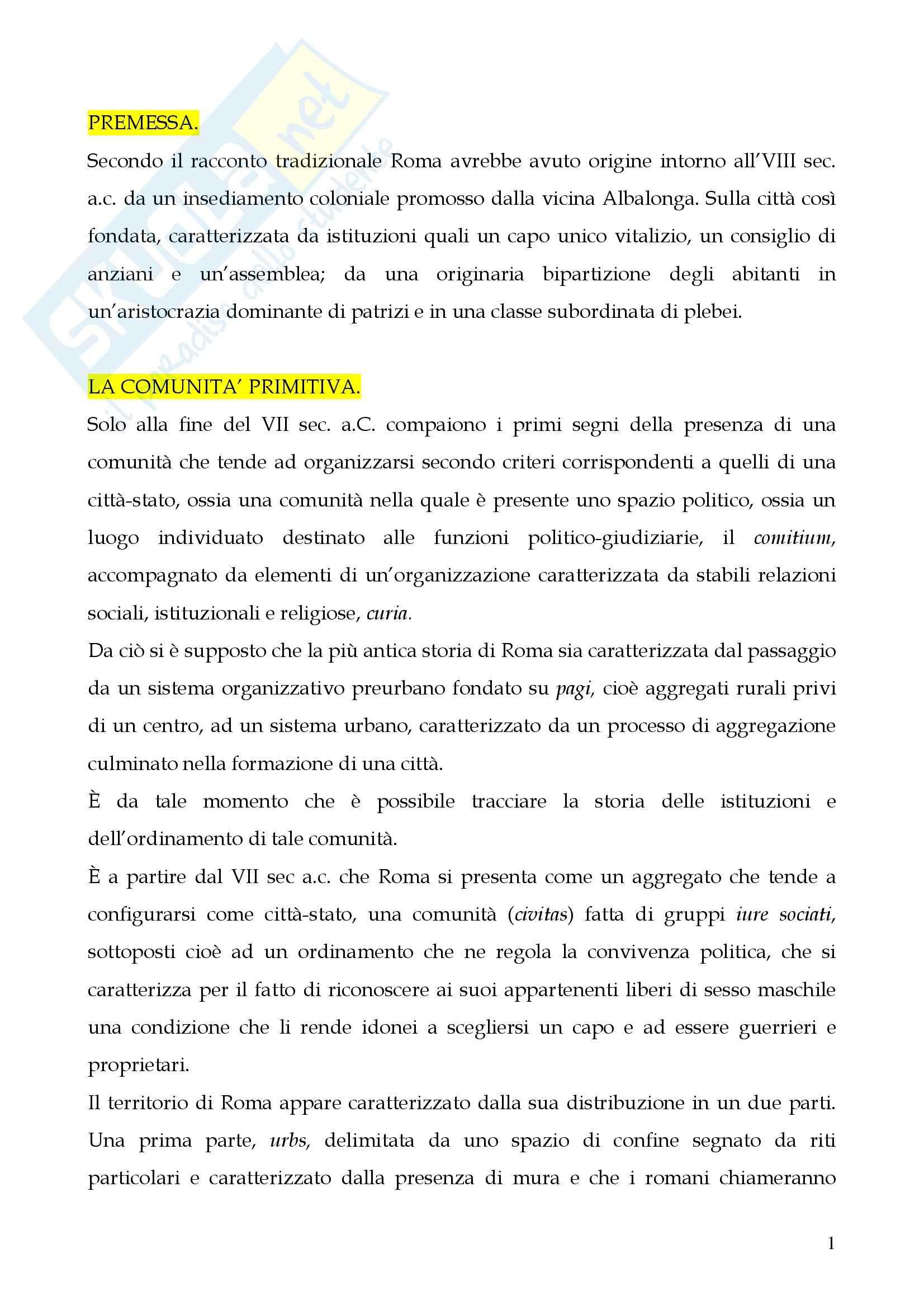 Riassunto esame Storia del diritto romano, prof. Cerami, libro consigliato Cerami, Corbino