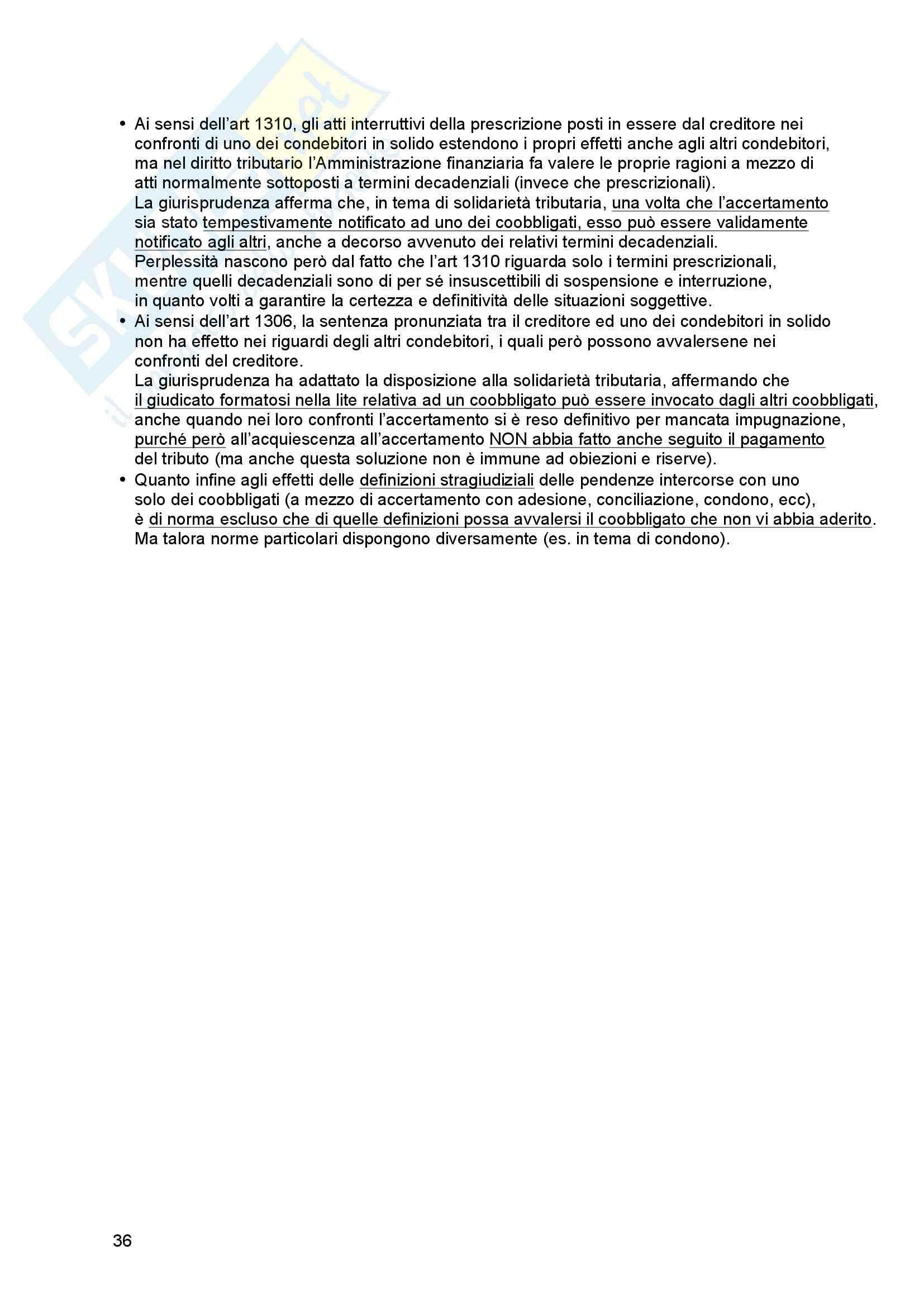 Riassunto esame Diritto tributario, Prof. Messina, libro consigliato Principi di diritto tributario, La Rosa Pag. 36