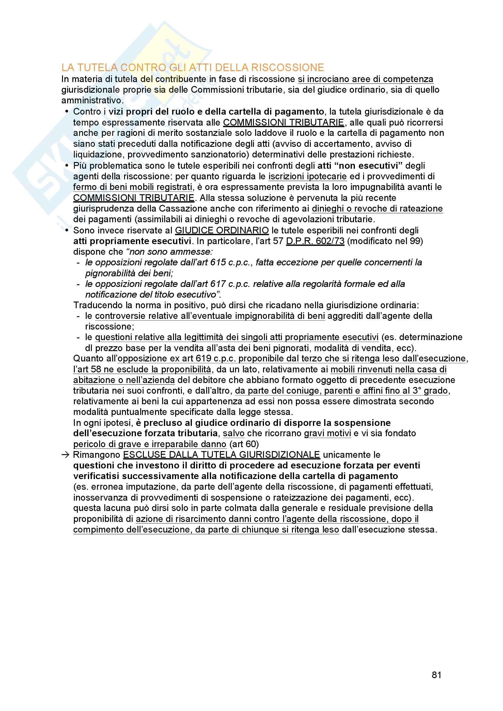 Riassunto esame Diritto tributario, Prof. Messina, libro consigliato Principi di diritto tributario, La Rosa Pag. 81