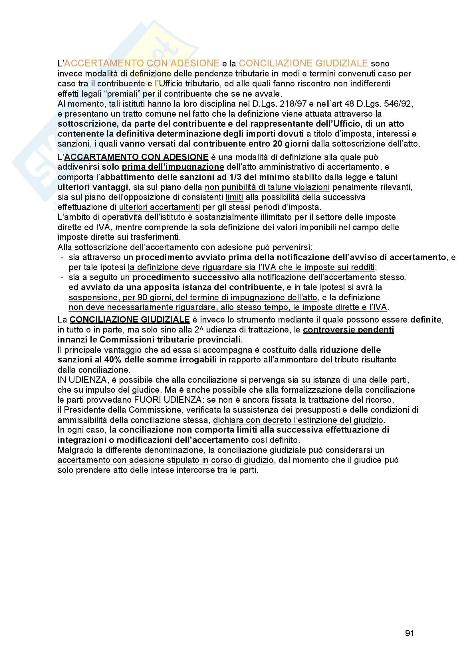 Riassunto esame Diritto tributario, Prof. Messina, libro consigliato Principi di diritto tributario, La Rosa Pag. 91