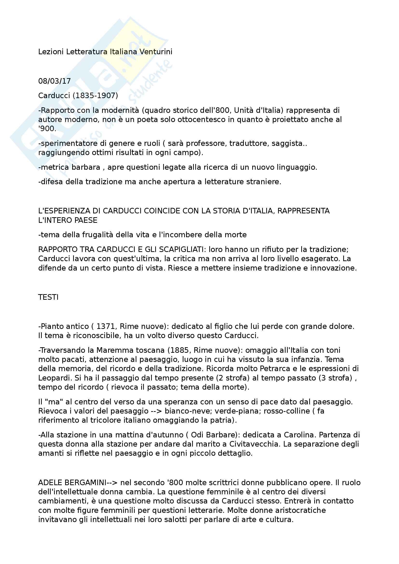 Appunti Letteratura Italiana Contemporanea prof. Venturini