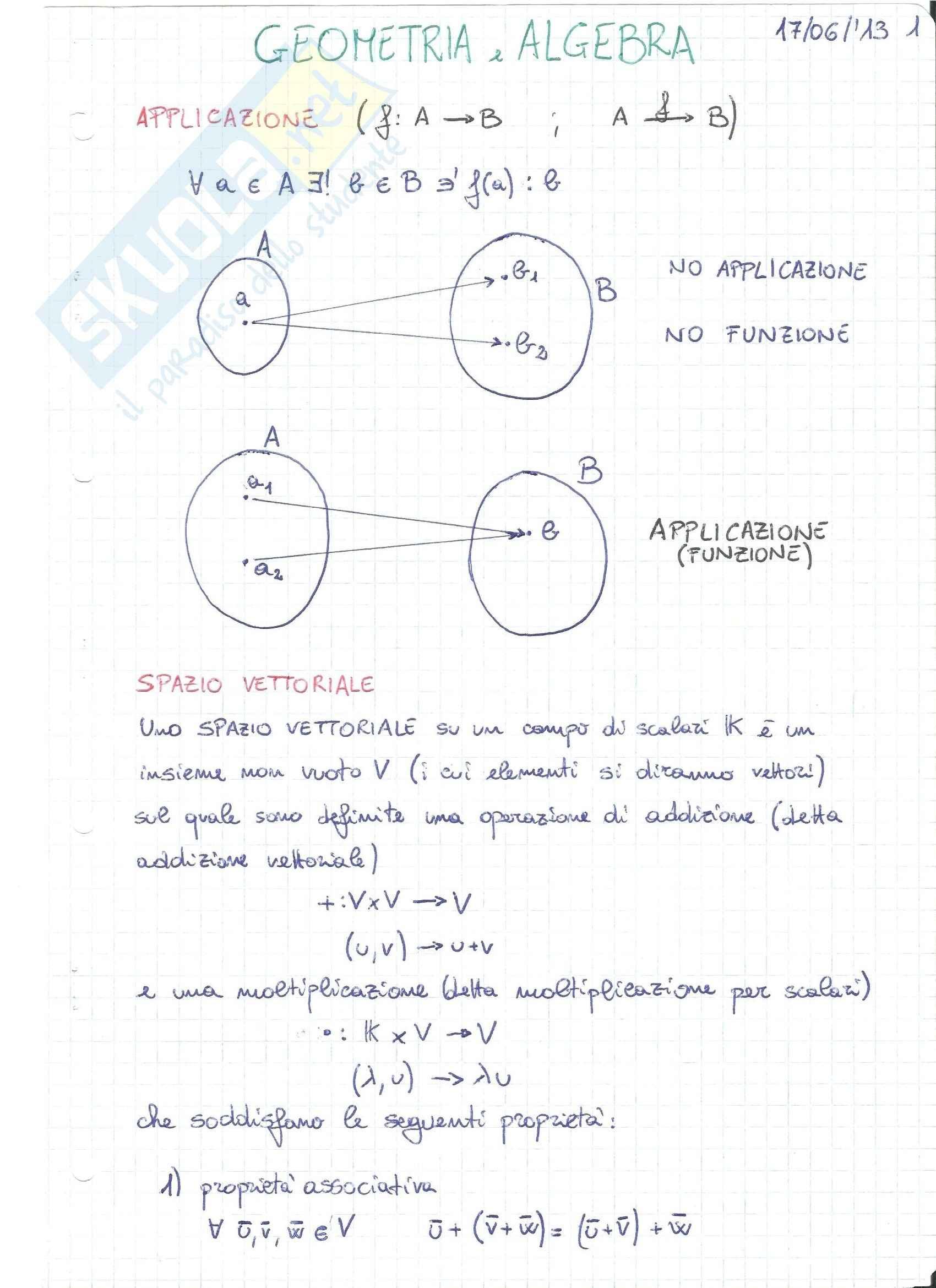Geometria e Algebra lineare - Appunti con sintesi