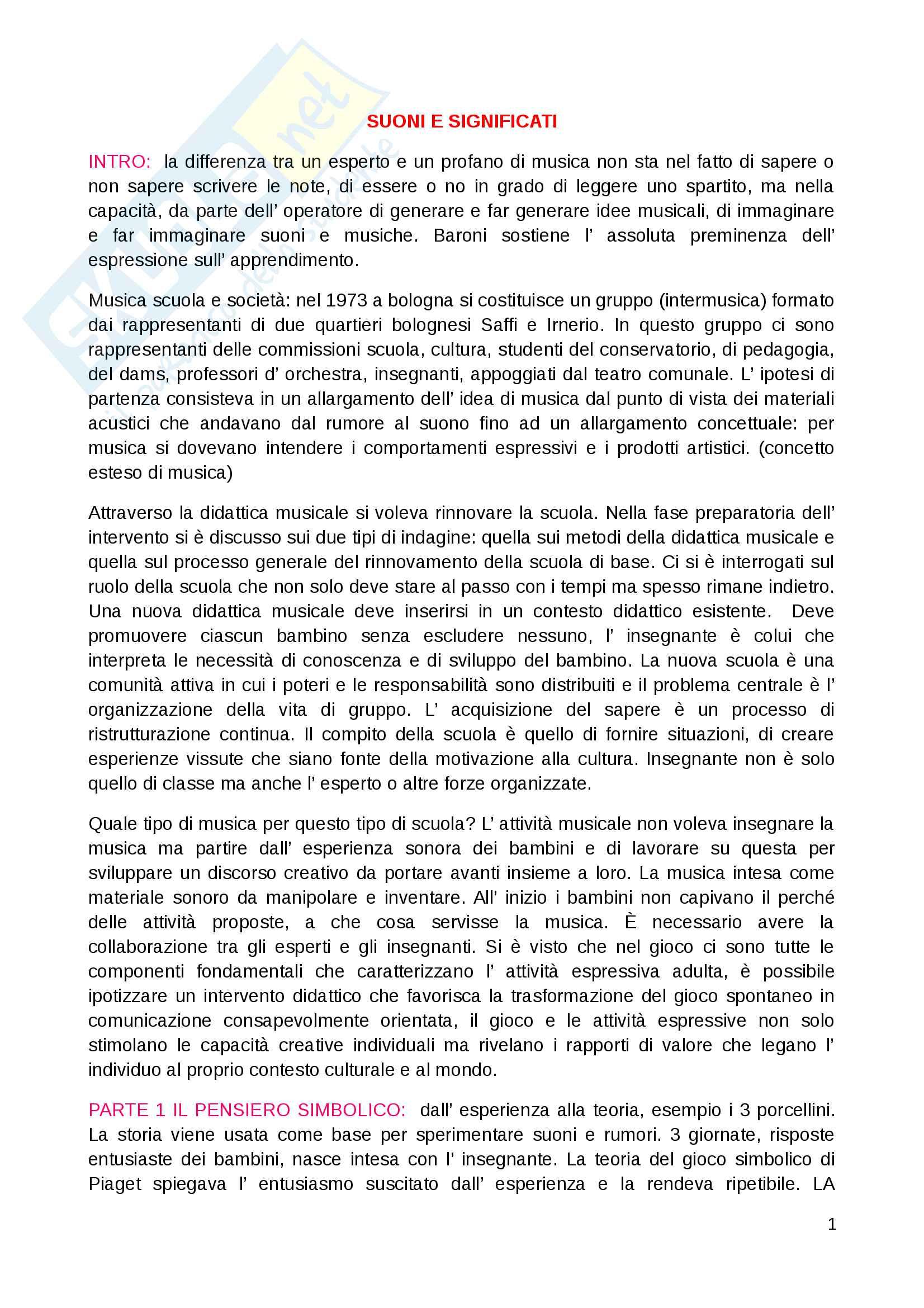 """Riassunto esame Educazione musicale, prof. Luisa Curinga, libri consigliati """"Suoni e significati"""" di Baroni Mario, """"Teorie, metodi e pratiche"""" di Johannella Tafuri e """"Nascere musicali"""" di Johannella Tafuri"""