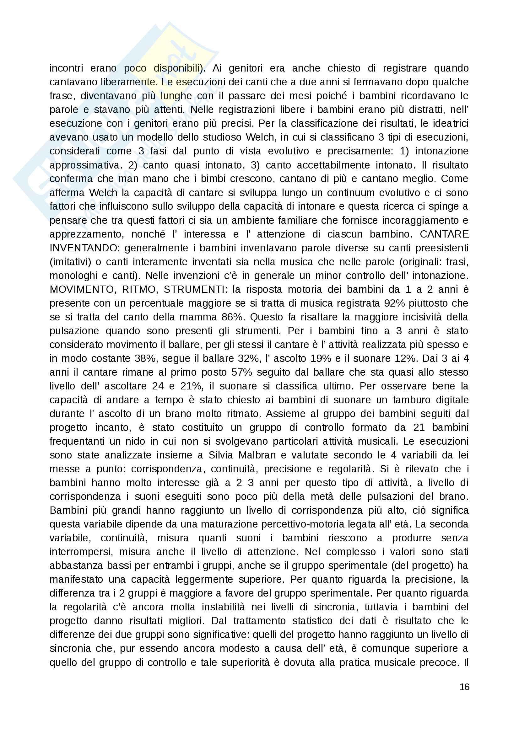 """Riassunto esame Educazione musicale, prof. Luisa Curinga, libri consigliati """"Suoni e significati"""" di Baroni Mario, """"Teorie, metodi e pratiche"""" di Johannella Tafuri e """"Nascere musicali"""" di Johannella Tafuri Pag. 16"""