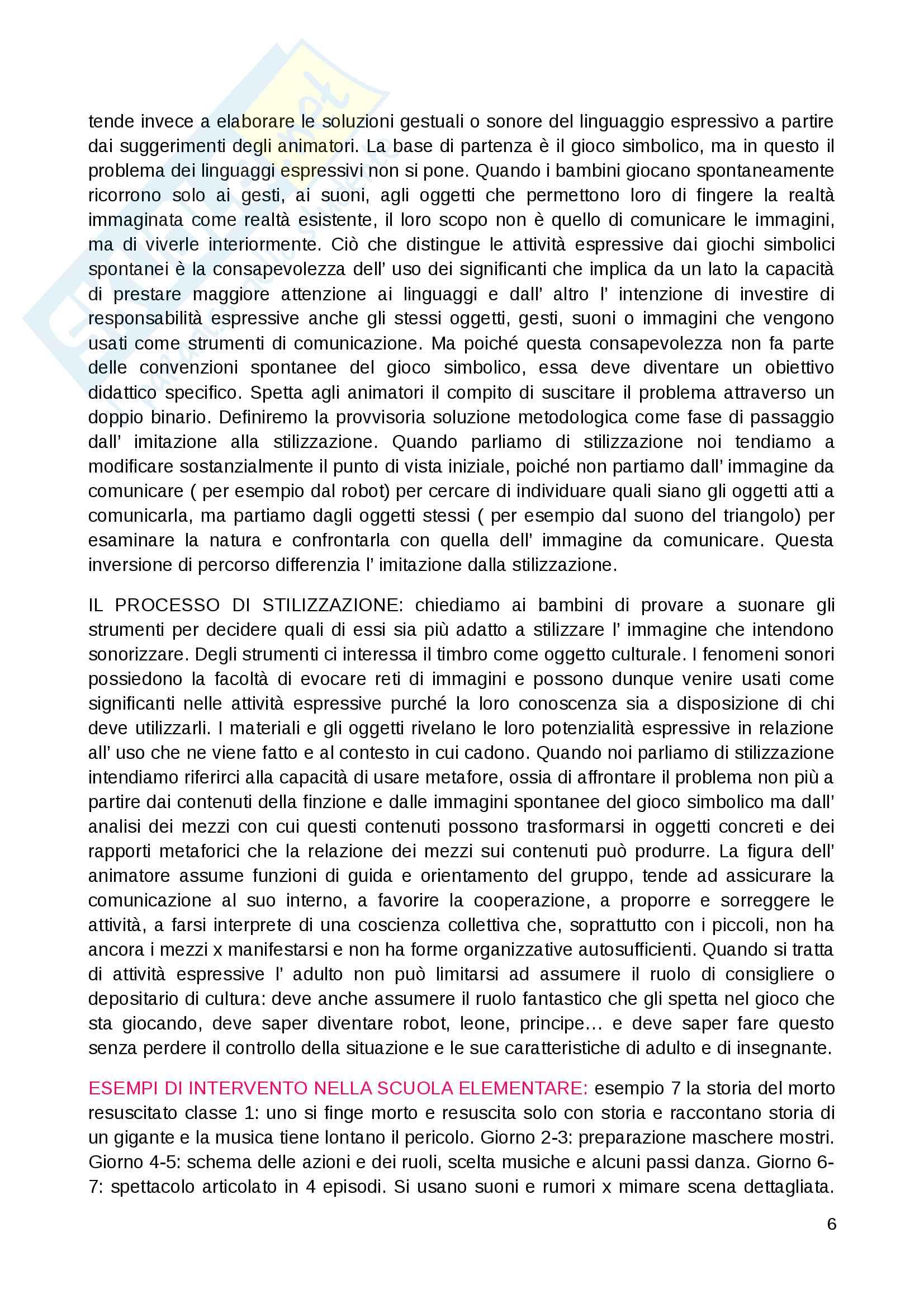 """Riassunto esame Educazione musicale, prof. Luisa Curinga, libri consigliati """"Suoni e significati"""" di Baroni Mario, """"Teorie, metodi e pratiche"""" di Johannella Tafuri e """"Nascere musicali"""" di Johannella Tafuri Pag. 6"""