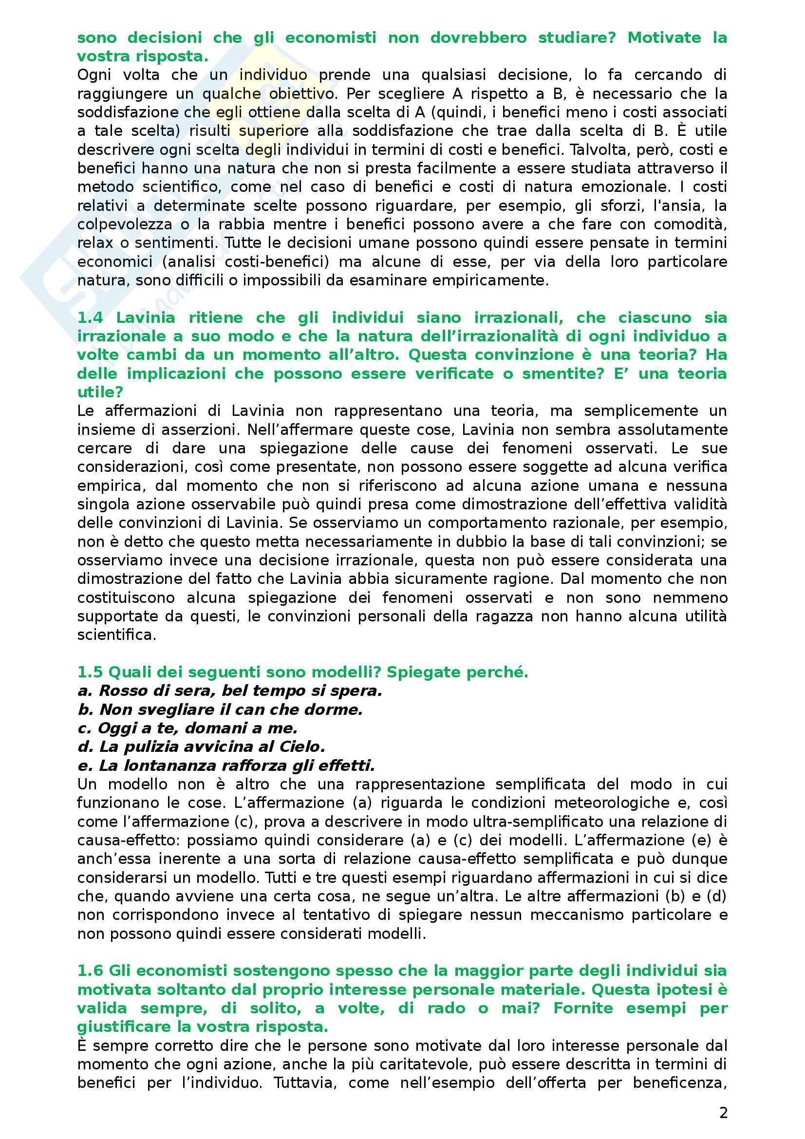 Calendario Esami Unibg Economia.Esercizi Con Soluzioni Esame Di Istituzioni Di Economia