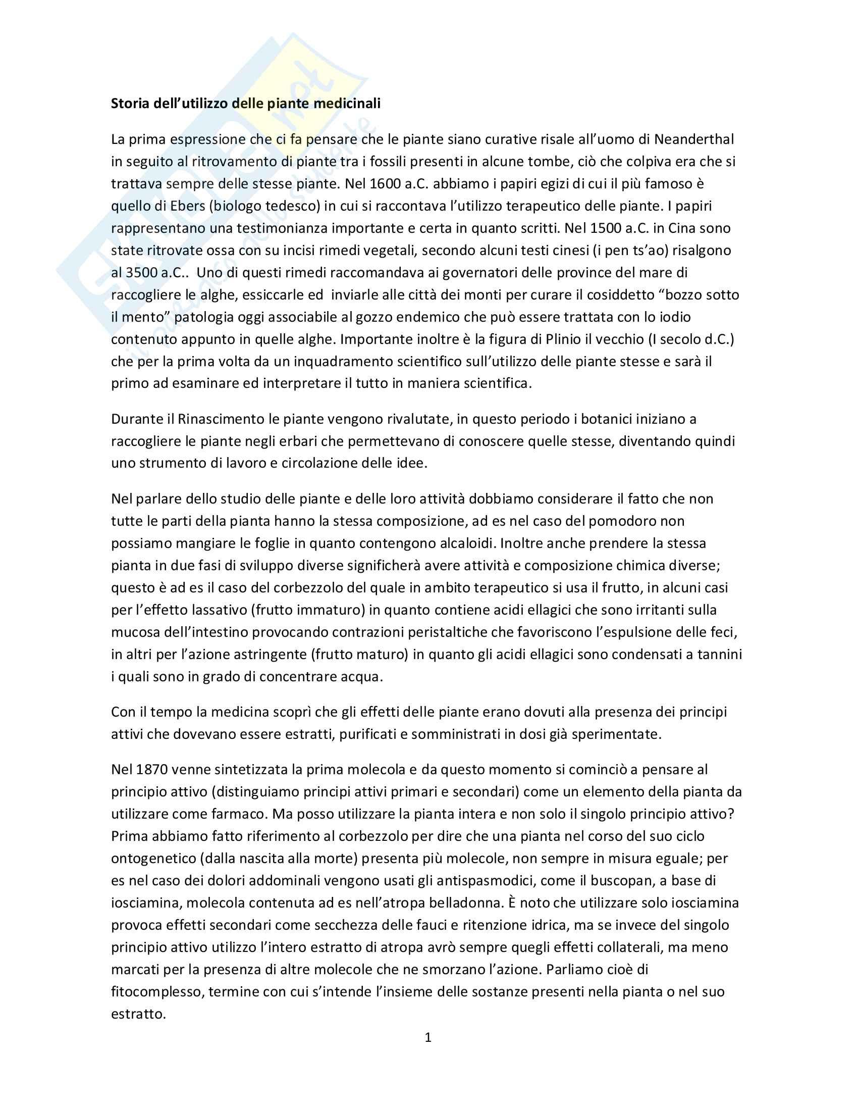 Riassunto esame Farmacognosia, prof. Mauro Serafini, libro consigliato Fitoterapia, Capasso