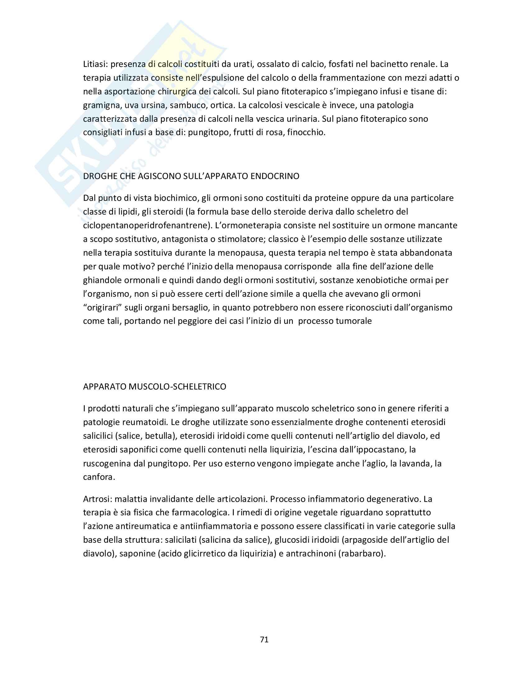 Riassunto esame Farmacognosia, prof. Mauro Serafini, libro consigliato Fitoterapia, Capasso Pag. 71