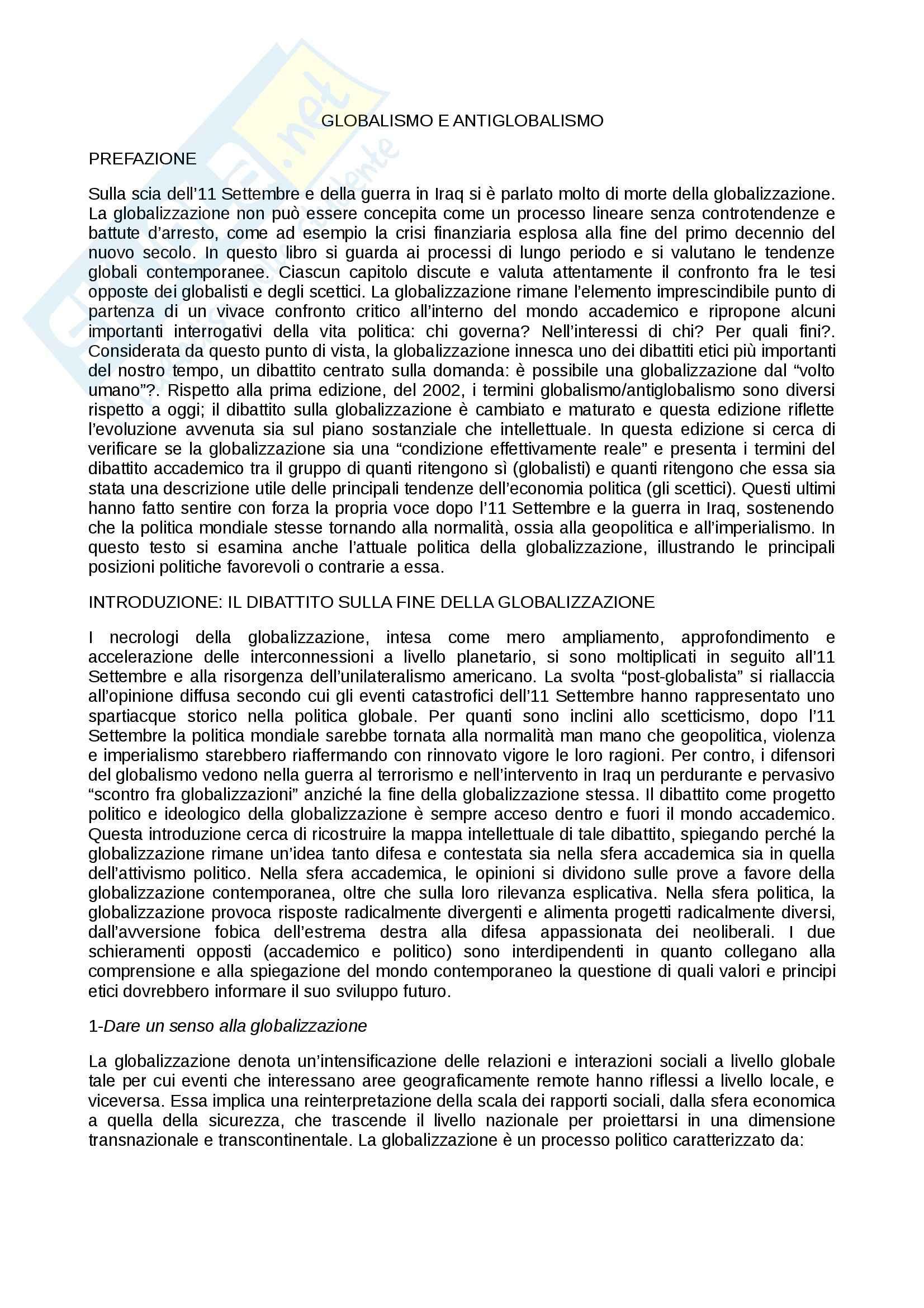 Riassunto esame Globalizzazione, prof. Codagnone, libro consigliato Globalismo e Antiglobalismo, Held, Mc Grew