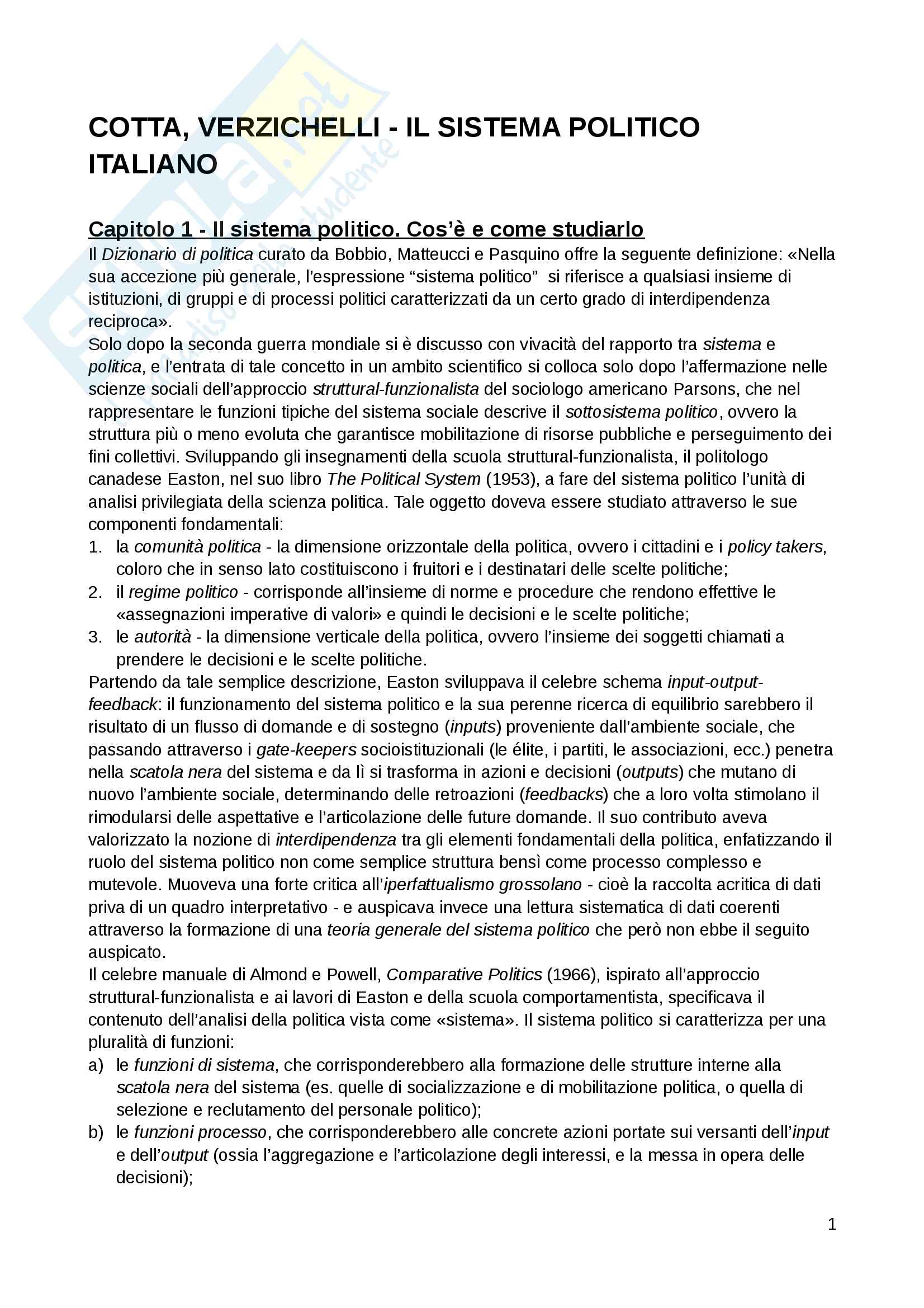 """Riassunto esame Scienza politica, docente Massari, libro consigliato: """"Il sistema politico italiano"""", Cotta, Verzichelli"""