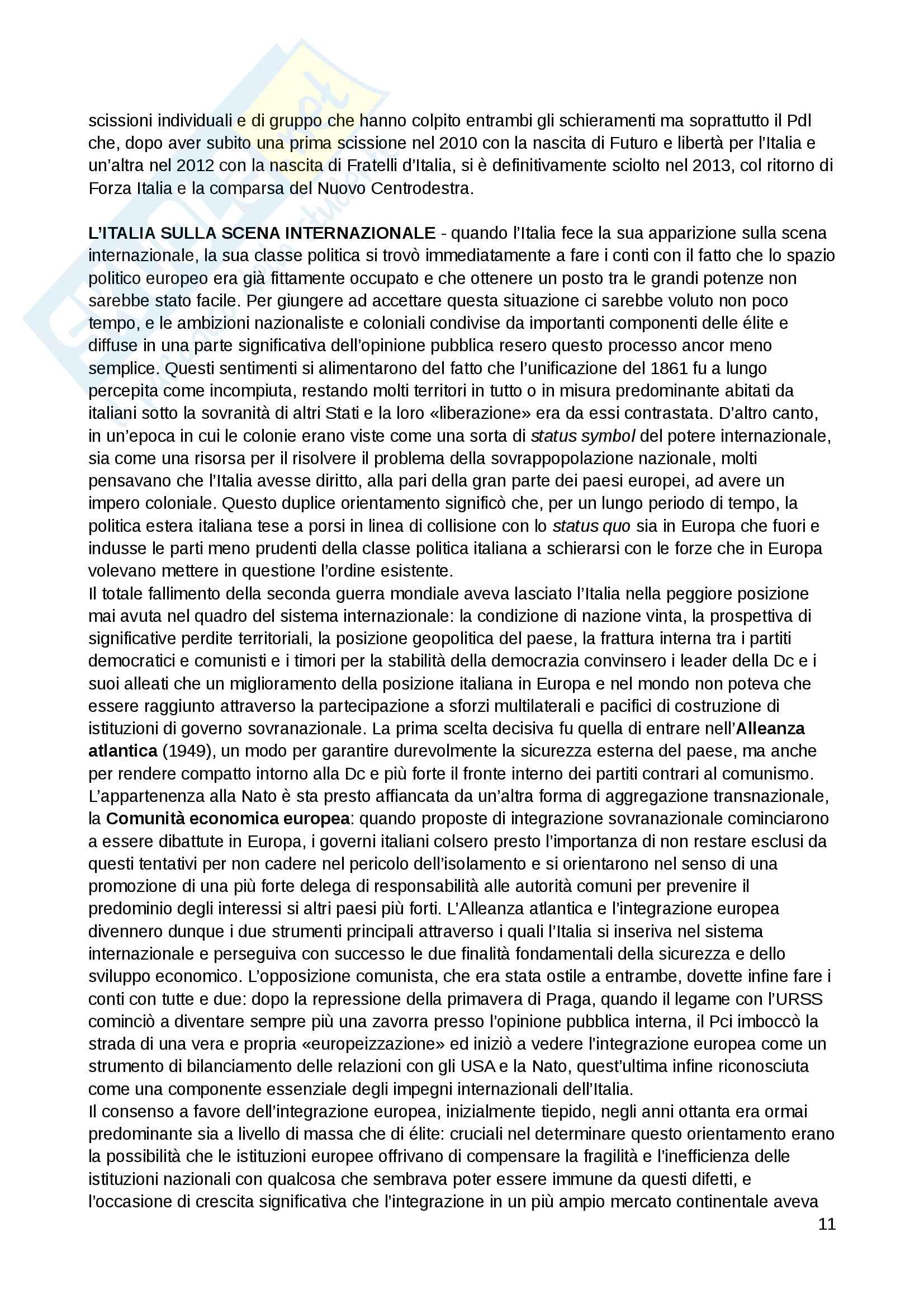 """Riassunto esame Scienza politica, docente Massari, libro consigliato: """"Il sistema politico italiano"""", Cotta, Verzichelli Pag. 11"""
