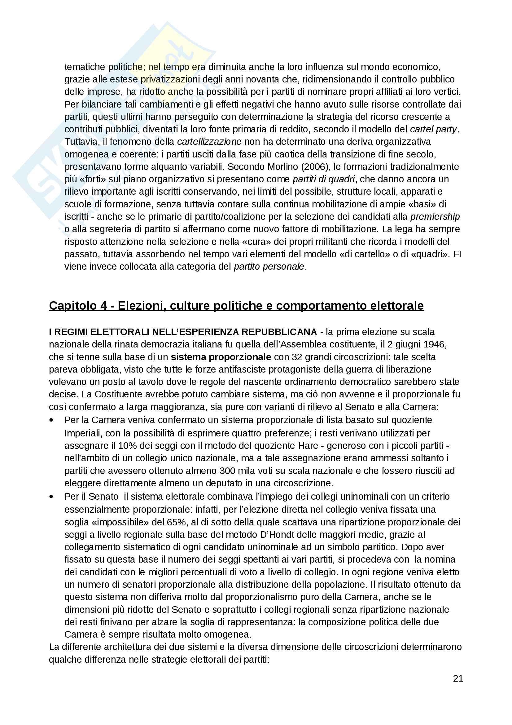 """Riassunto esame Scienza politica, docente Massari, libro consigliato: """"Il sistema politico italiano"""", Cotta, Verzichelli Pag. 21"""