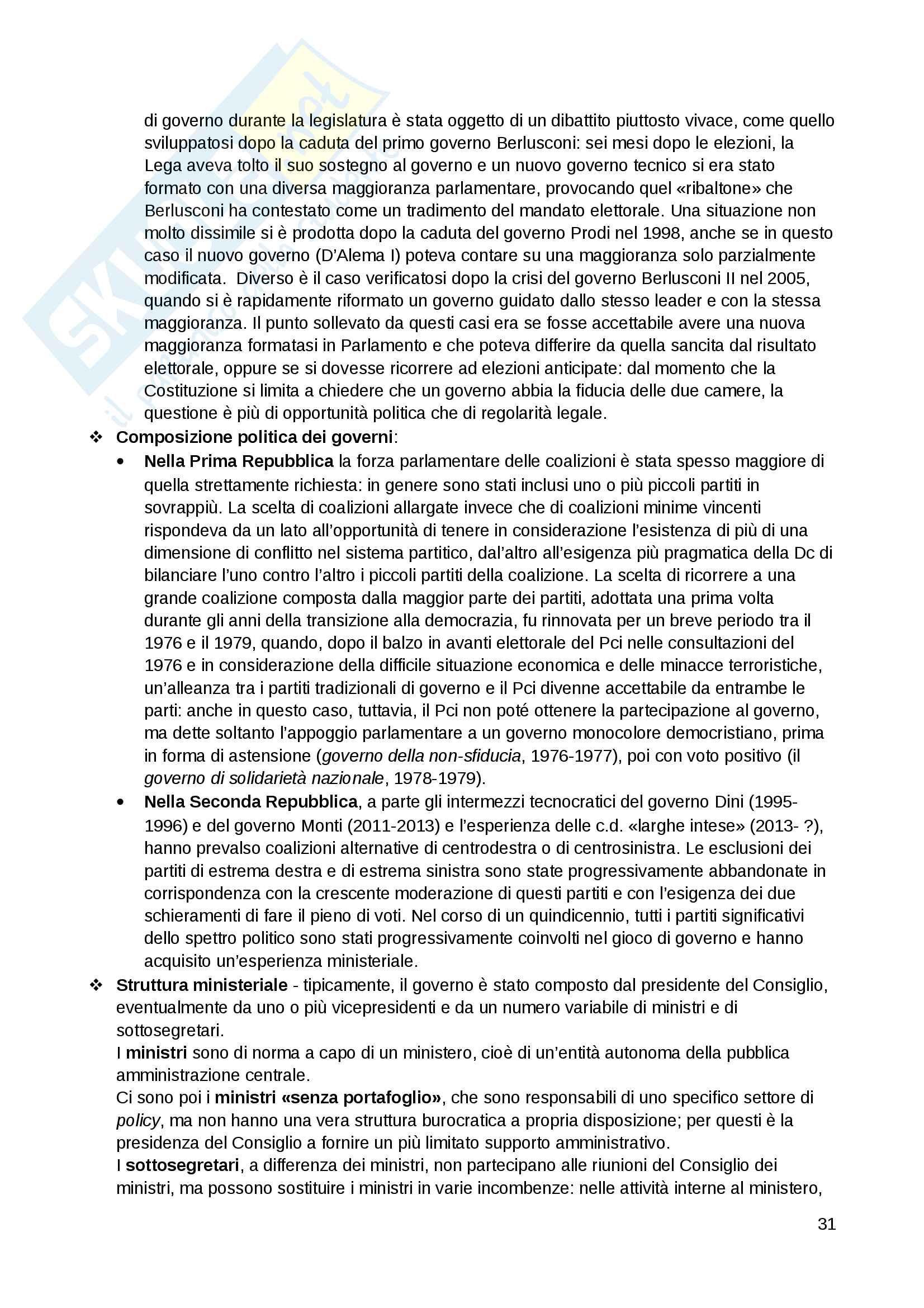 """Riassunto esame Scienza politica, docente Massari, libro consigliato: """"Il sistema politico italiano"""", Cotta, Verzichelli Pag. 31"""