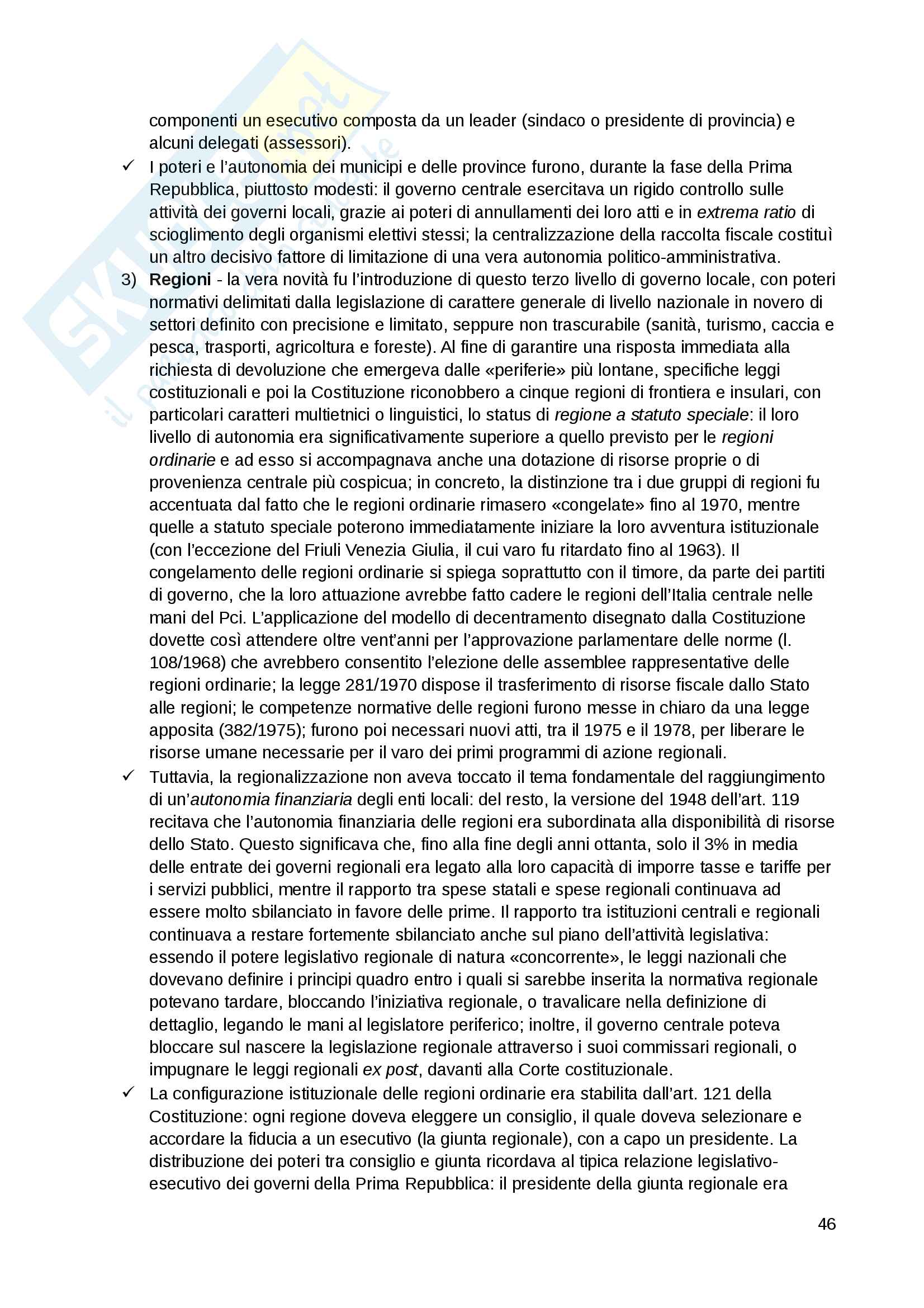 """Riassunto esame Scienza politica, docente Massari, libro consigliato: """"Il sistema politico italiano"""", Cotta, Verzichelli Pag. 46"""