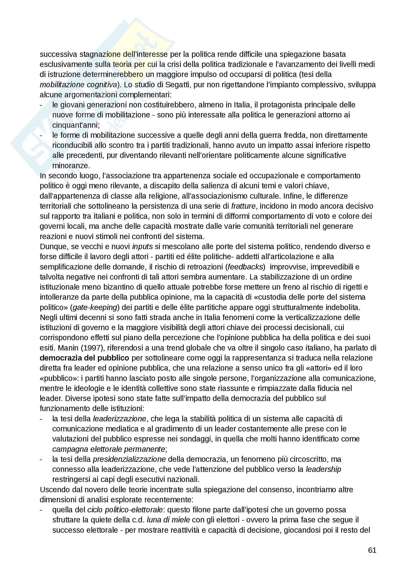 """Riassunto esame Scienza politica, docente Massari, libro consigliato: """"Il sistema politico italiano"""", Cotta, Verzichelli Pag. 61"""