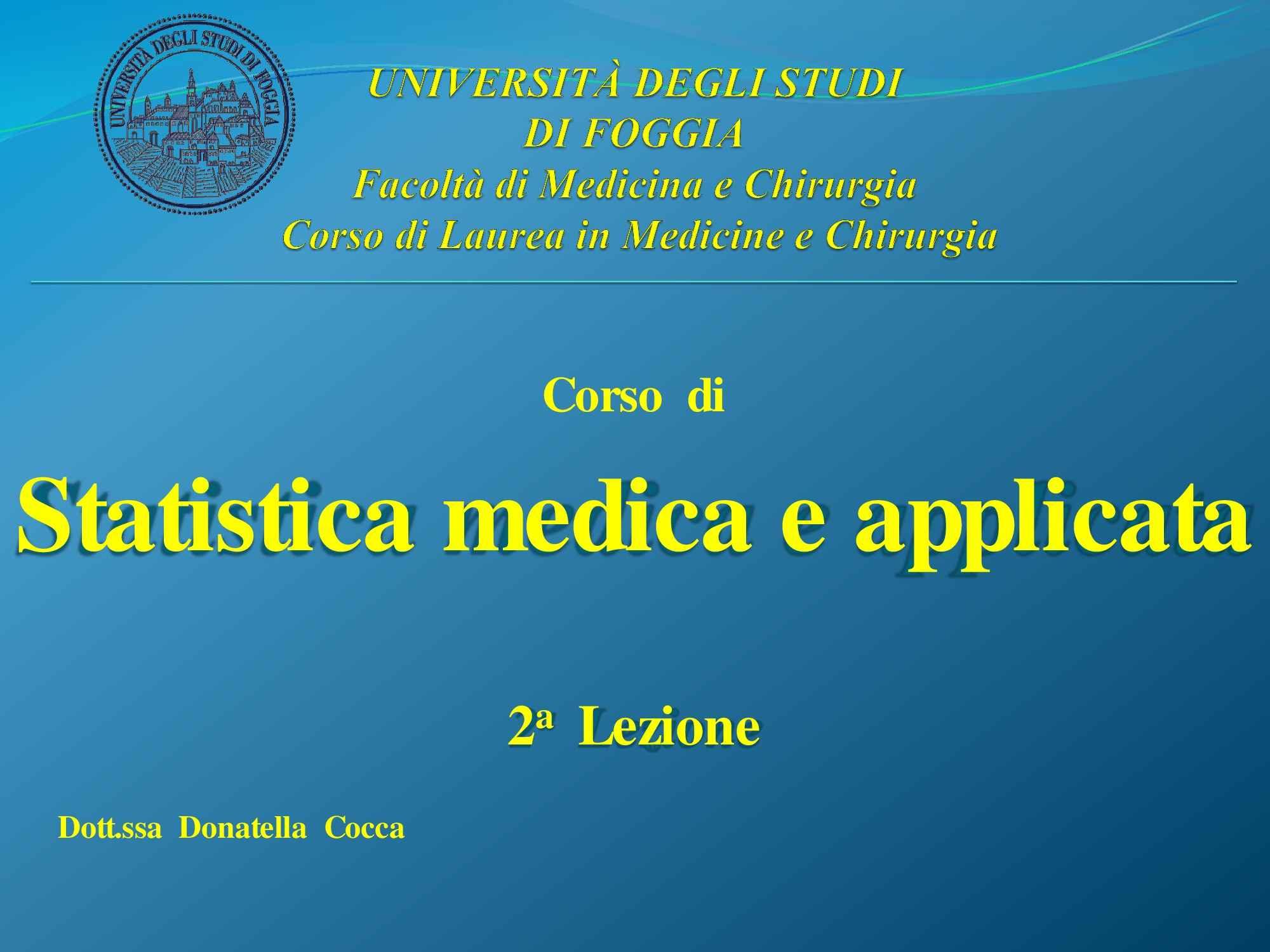 Statistica medica - medie e variabili - Dispensa