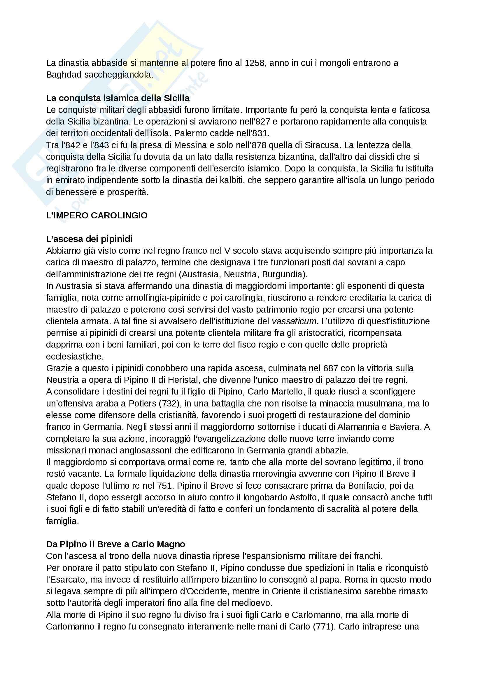 Riassunto esame Storia medievale, prof. Grillo, libro consigliato Il Medioevo.Profilo di un millennio, Cortonesi Pag. 11