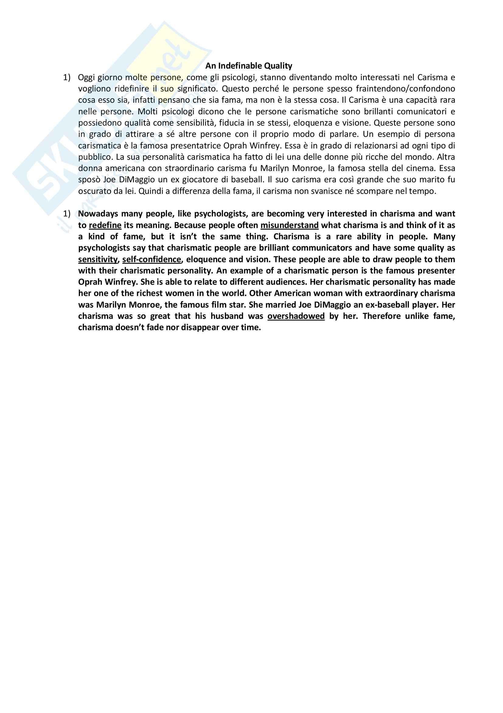 Riassunto esame Abilità linguistica in lingua inglese, prof. Antinucci, libro consigliato Language Leader