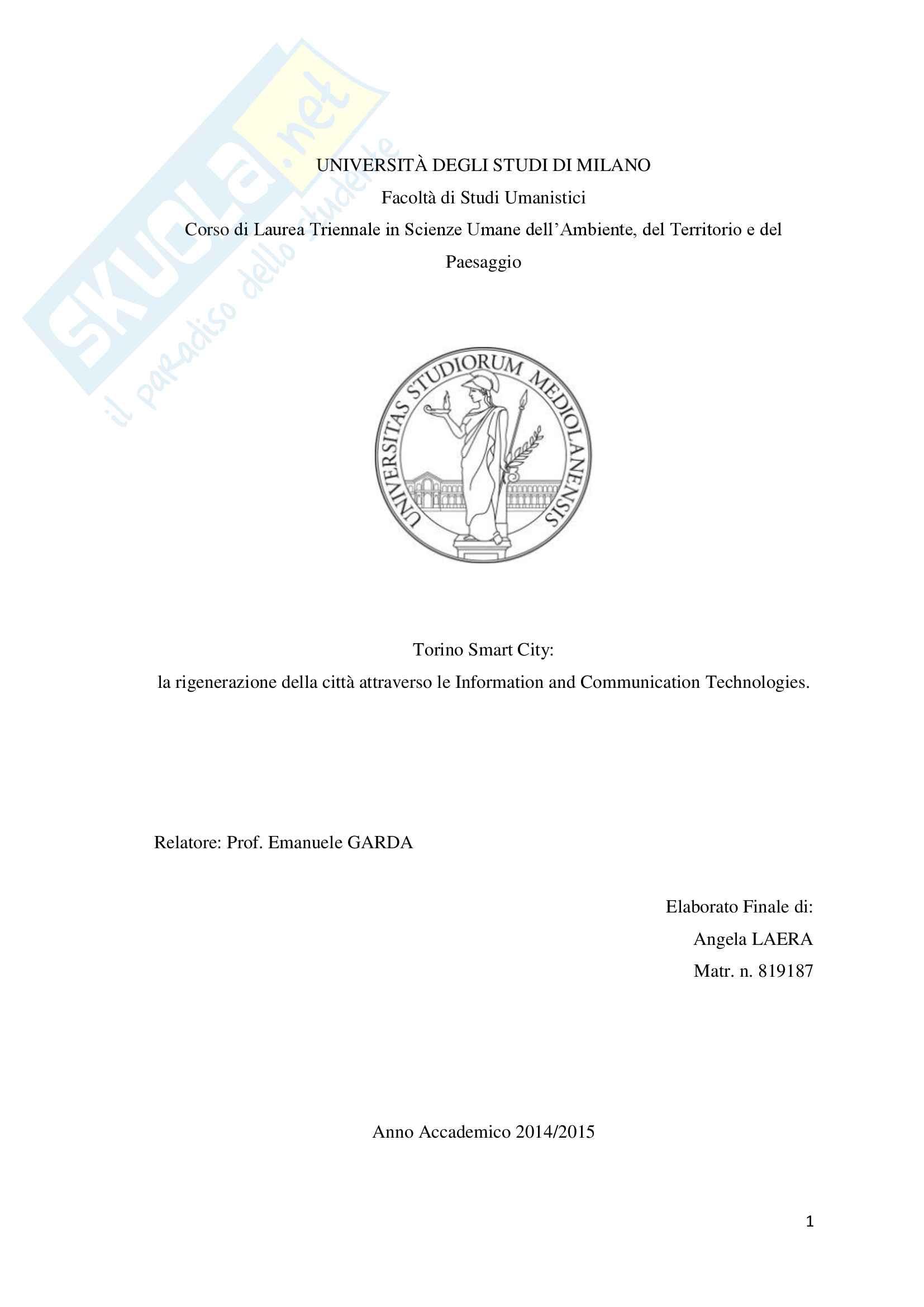 Torino Smart City: la rigenerazione della città attraverso le Information and Communication Technologies.
