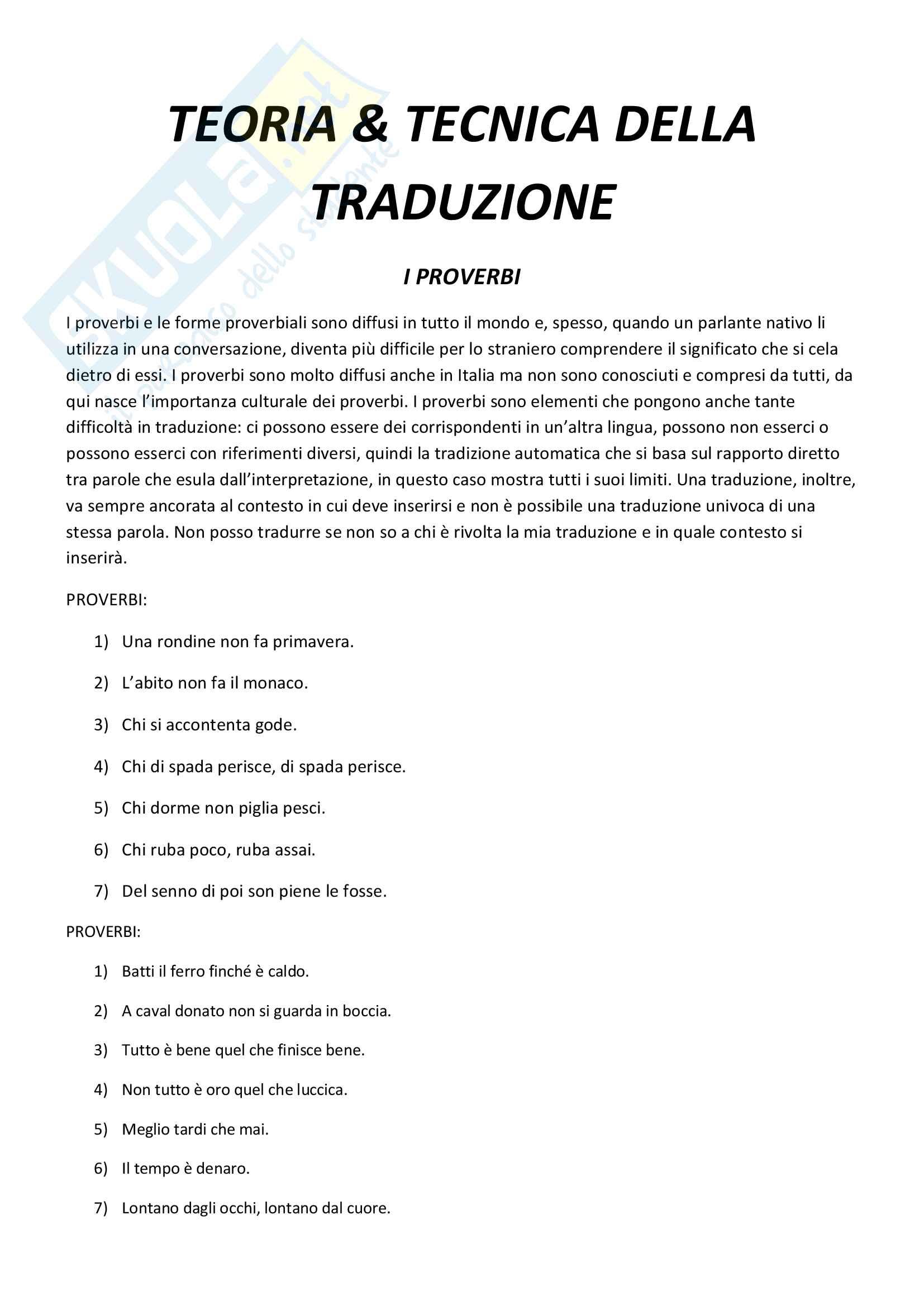 Appunti esame Teoria e tecnica della traduzione, prof. Diadori