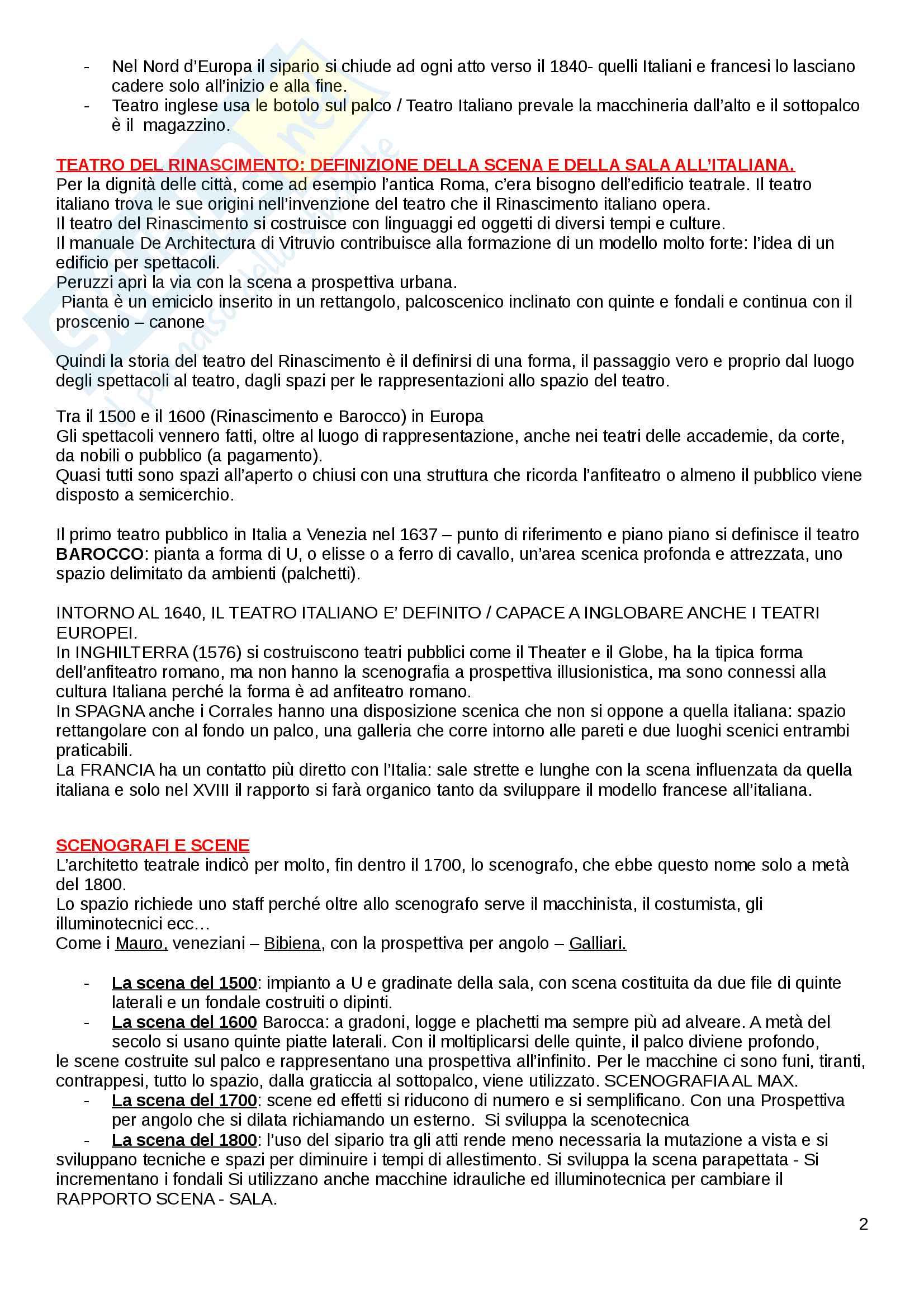 Riassunto esame Storia dello Spettacolo, docente D'Orazi, libro consigliato Lo Spazio del Teatro, Cruciani Pag. 2