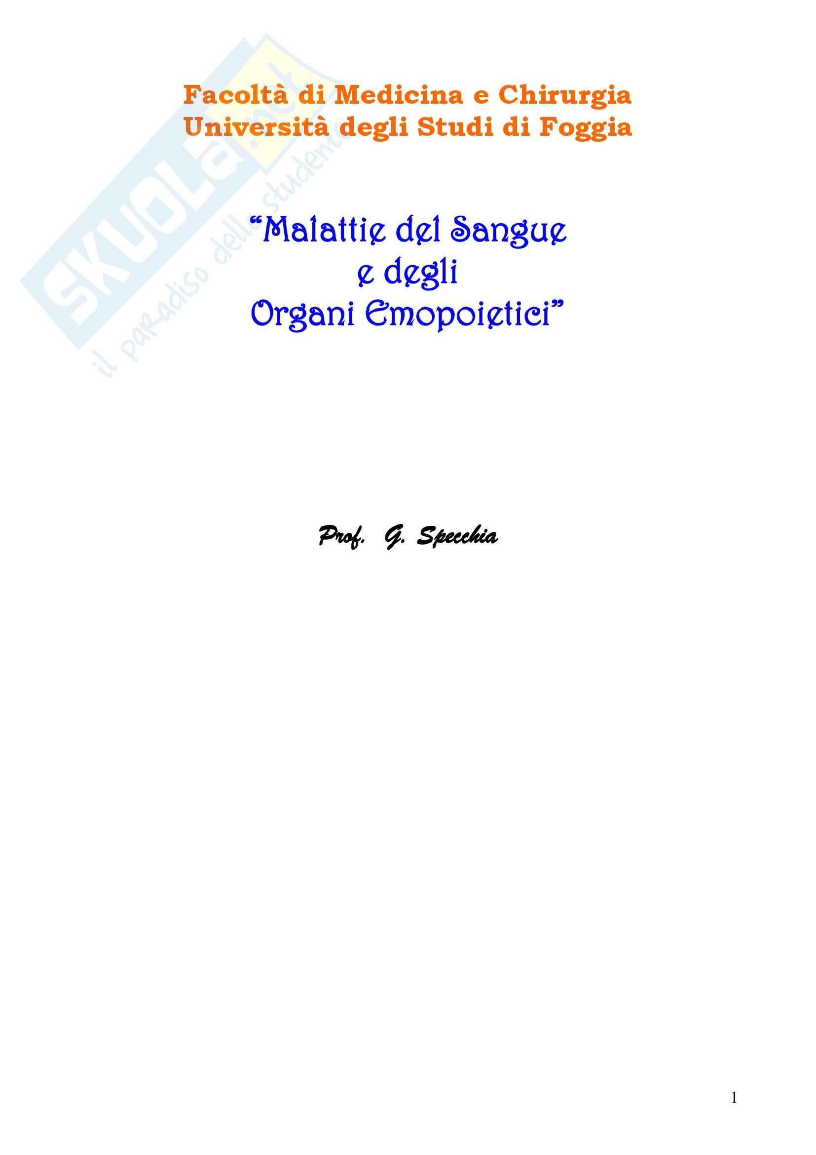 Ematologia - Malattie del sangue e degli organi ematopoietici