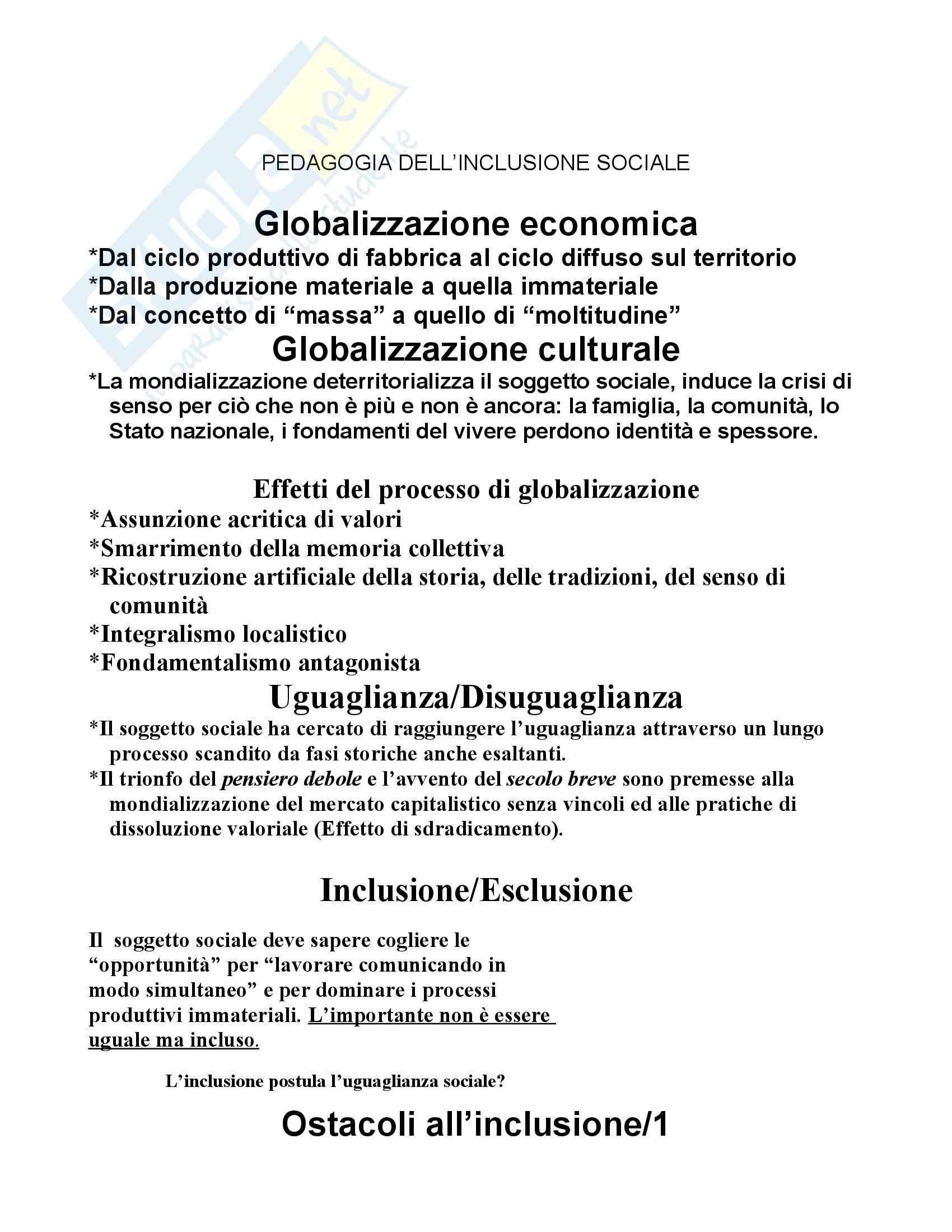 Pedagogia dell'inclusione sociale - Appunti
