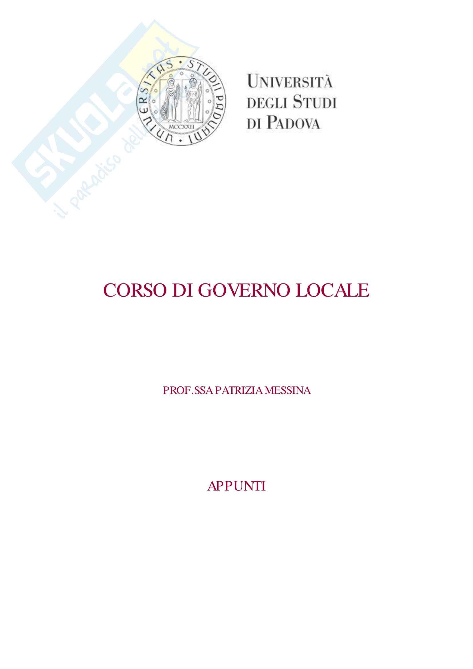 Appunti Governo Locale P Messina