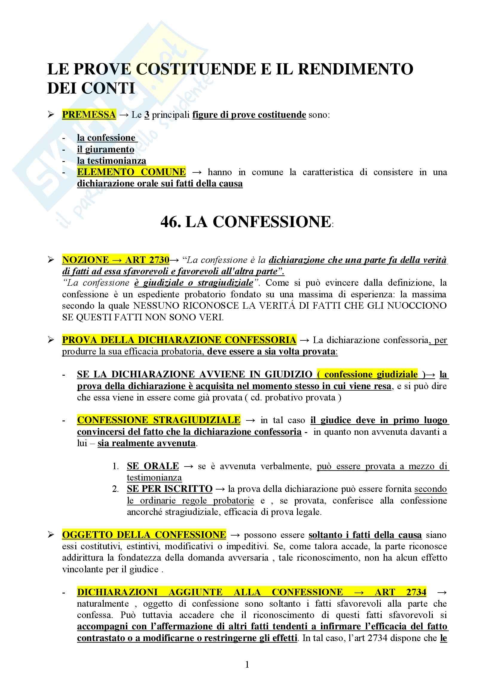Diritto processuale civile II - prove