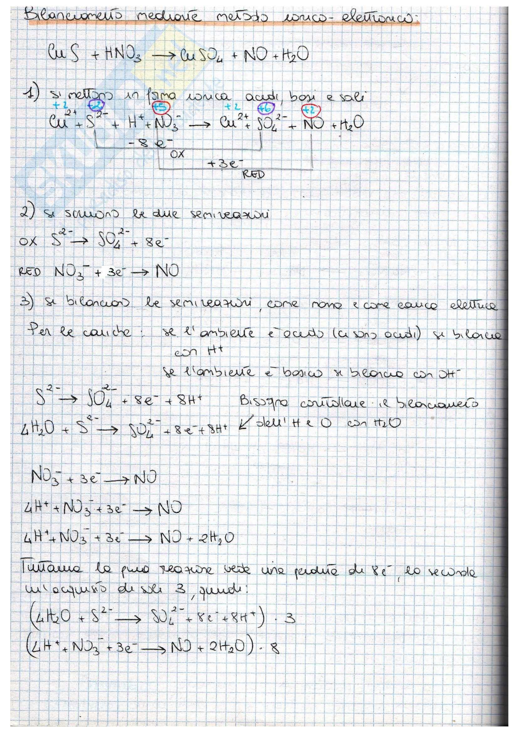 Metodo di bilanciamento reazioni redox, Chimica