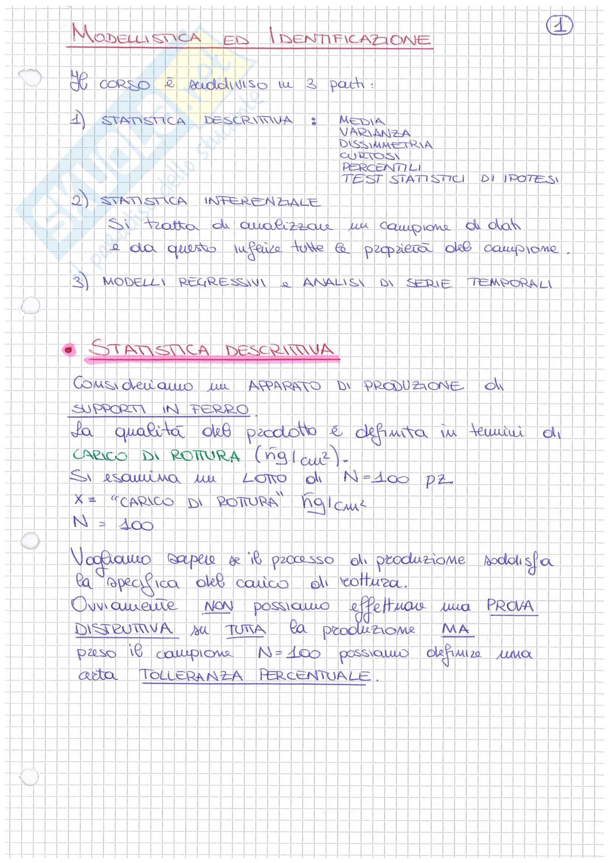 Teoria ed esempi di modellistica ed identificazione