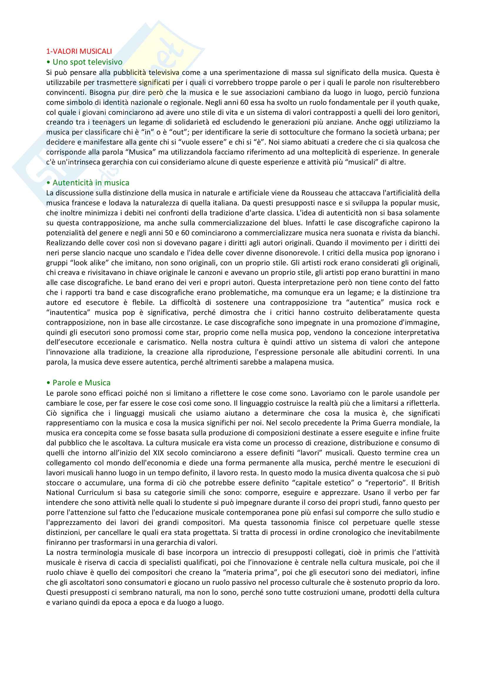 Riassunto esame Storia della Musica, prof. Guanti, libro consigliato Musica: una breve introduzione, Cook