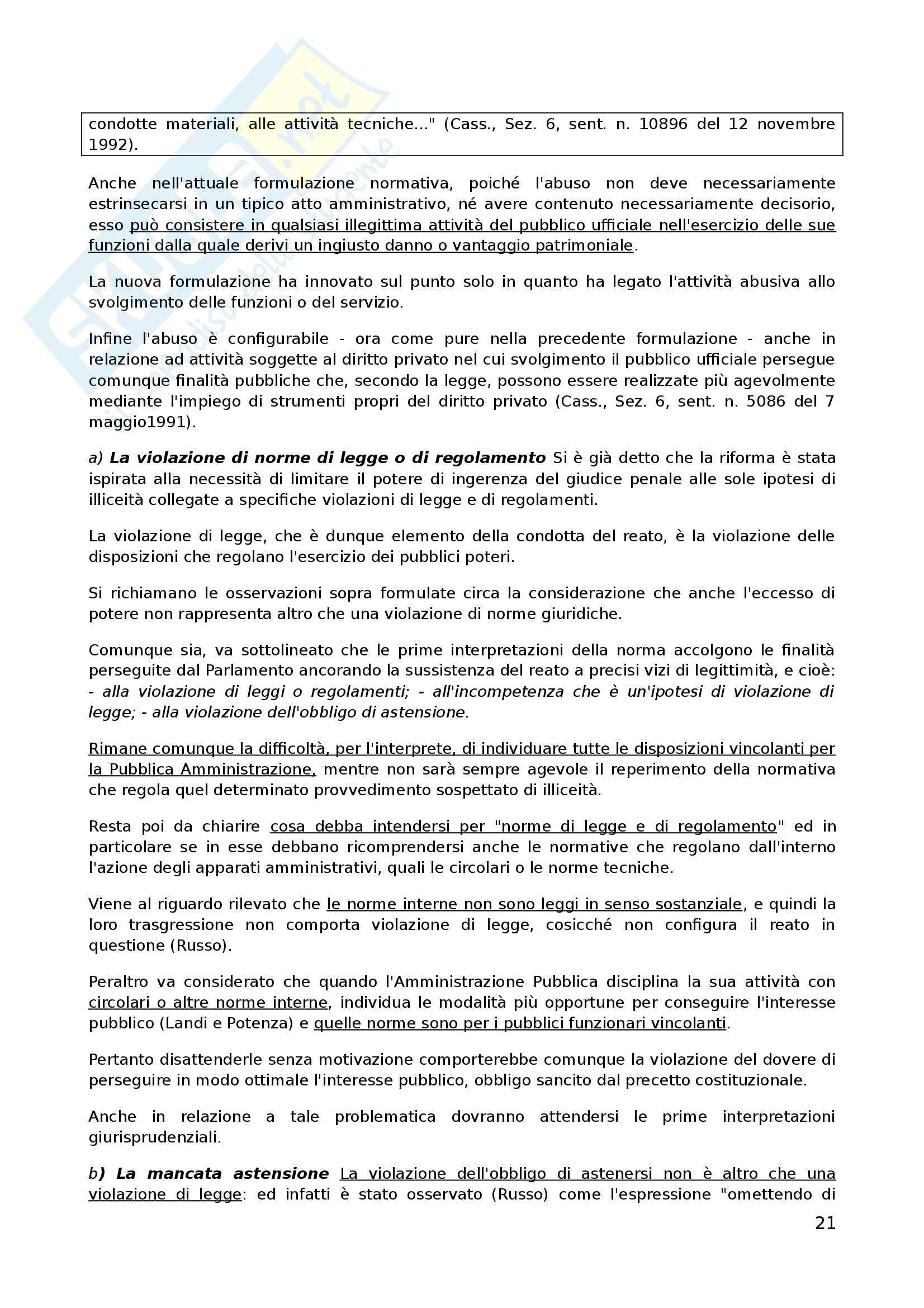 Riassunto esame Diritto Penale, prof. D'Ascola, libro consigliato I Delitti Contro la Pubblica Amministrazione di Fiandaca e Musco Pag. 21