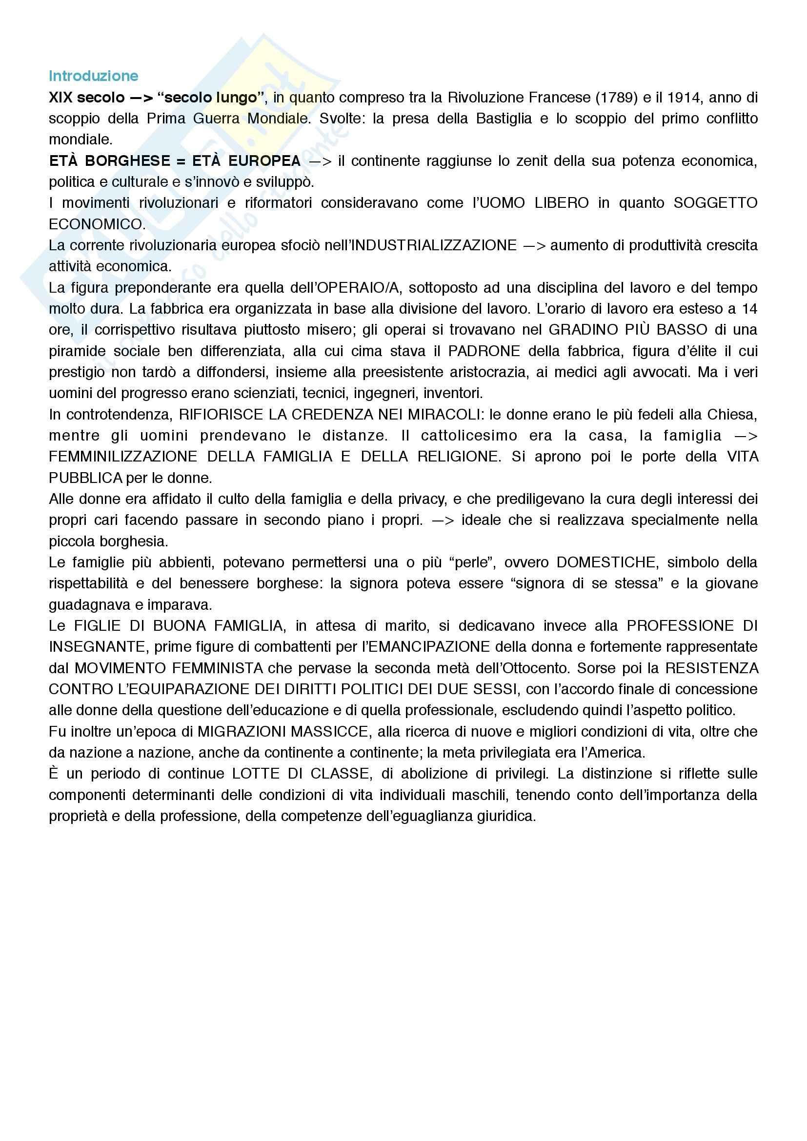 Riassunto esame Storia, prof. Tonelli, libro consigliato L'uomo dell'Ottocento, Frevert, Haupt Heinz