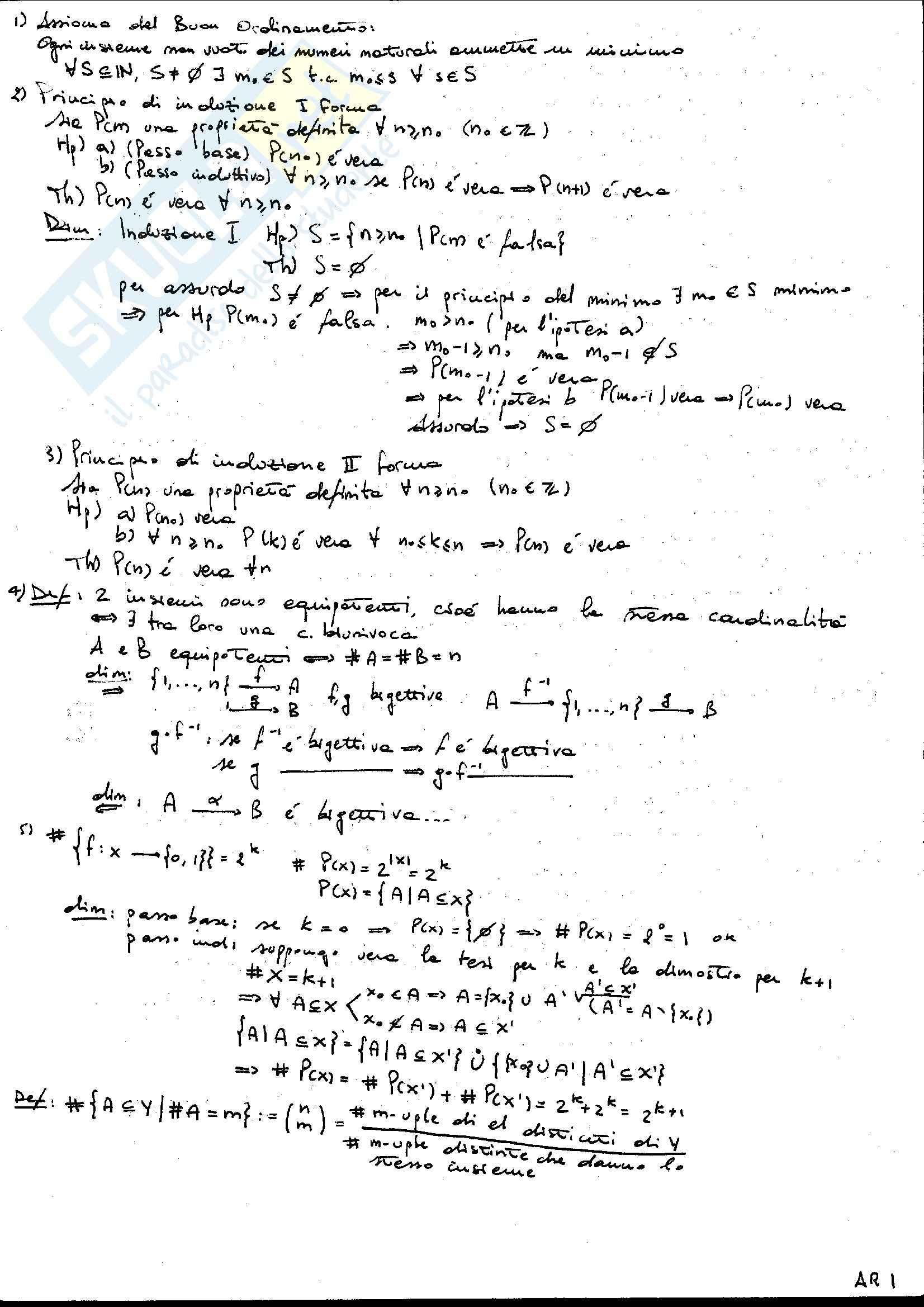 Principali teoremi Aritmetica, Algebra