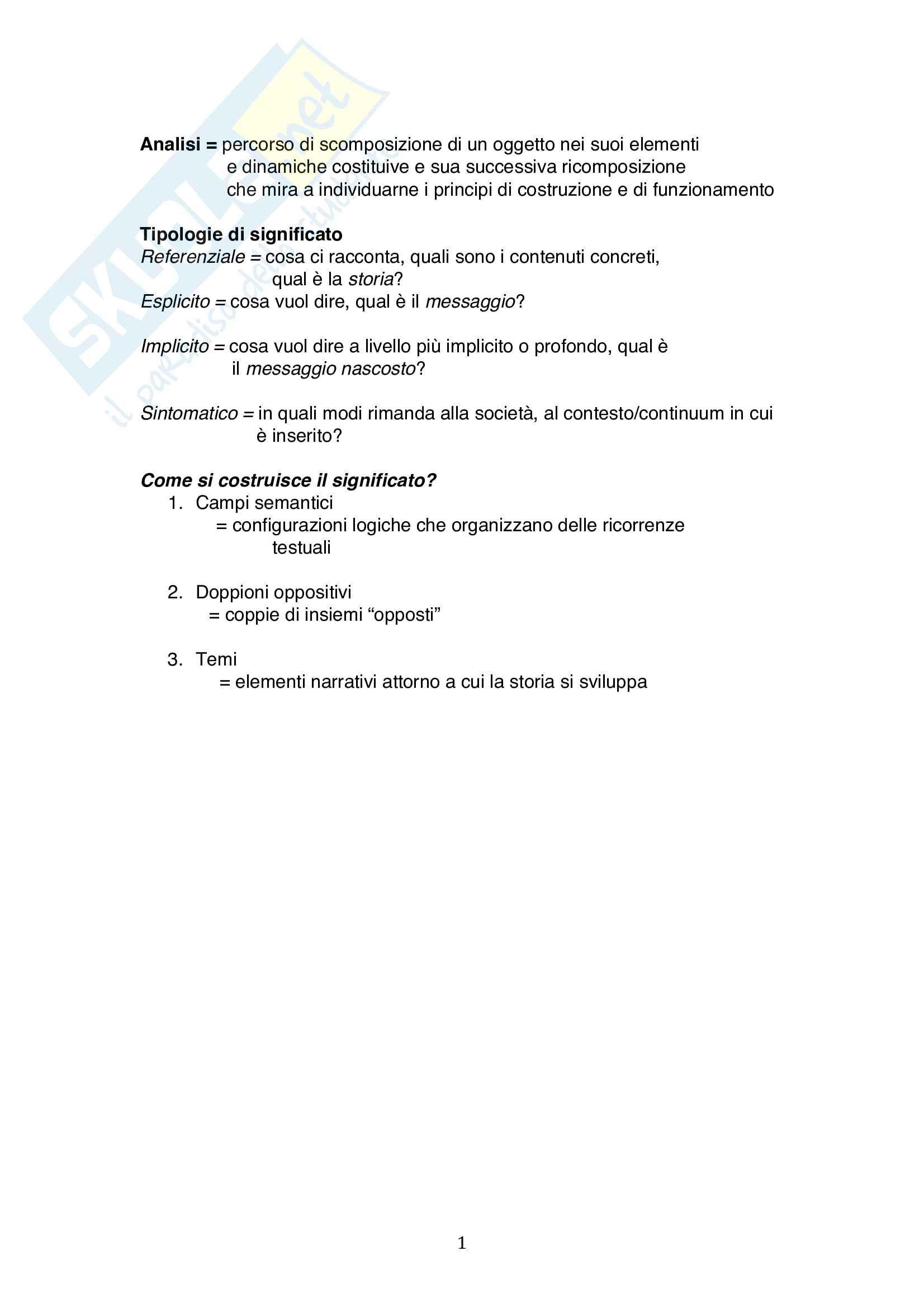 Riassunto esame Analisi del film, prof. Noto, libro consigliato Analisi del film, Casetti, Di Chio Pag. 1