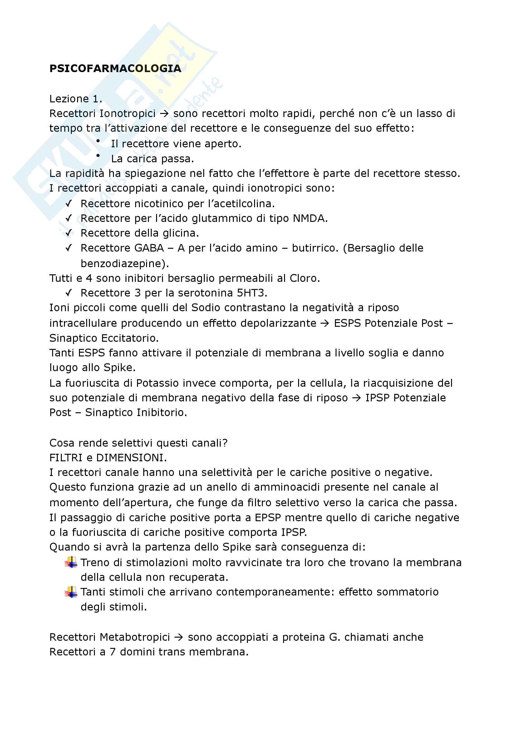 Riassunto esame Psicofarmacologia, prof. Chiarugi, Blandina, Geppetti e Corradetti, libro consigliato Farmacologia, Govoni S