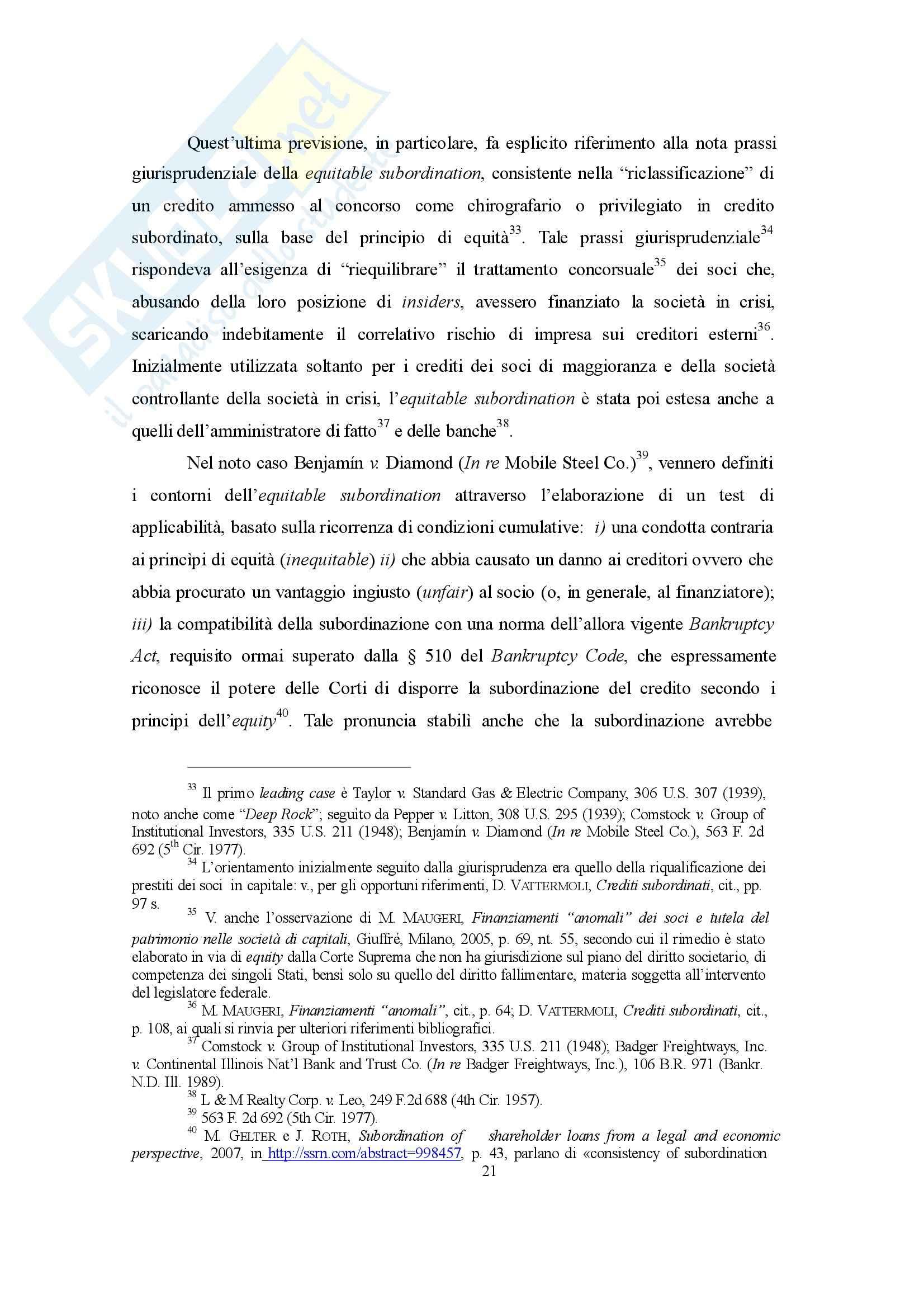 Disciplina concorsuale dei finanziamenti soci, Diritto commerciale Pag. 21