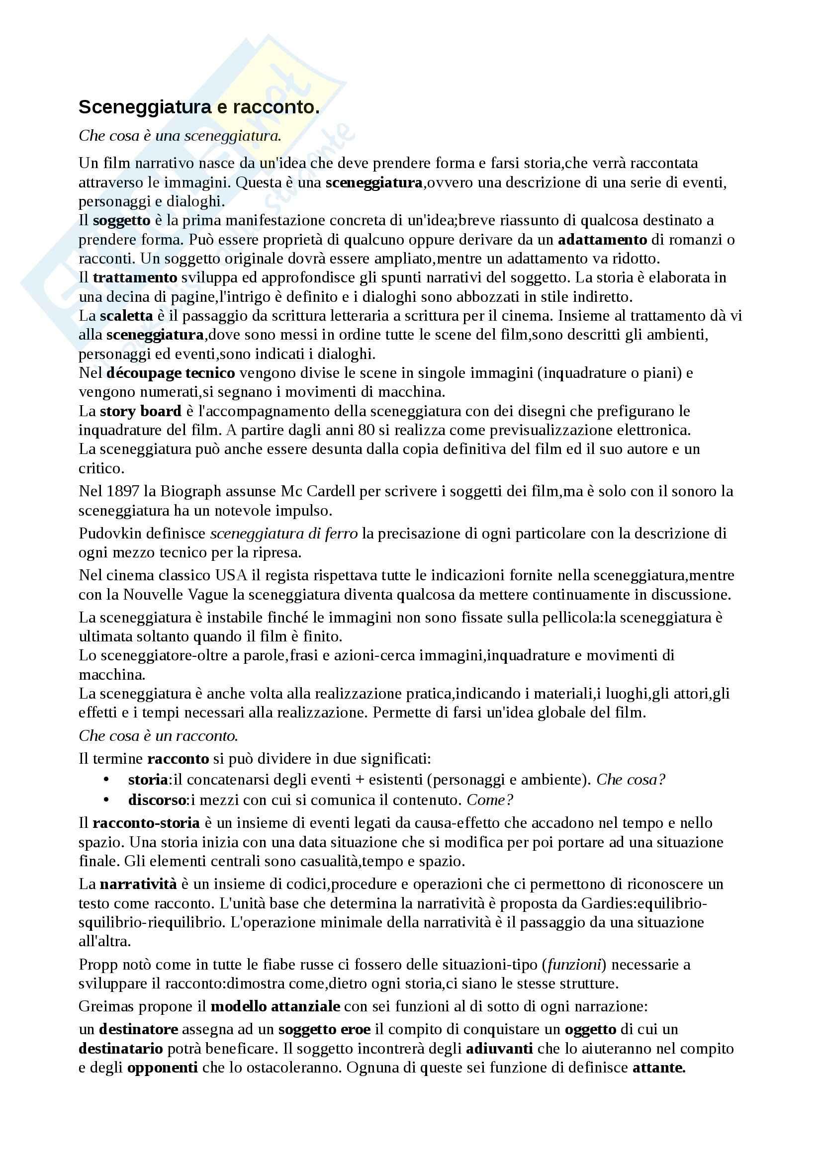Riassunto esame Teoria e analisi del linguaggio cinematografico, prof. Dagrada, libro consigliato Manuale del Film, Rondolino, Tomasi