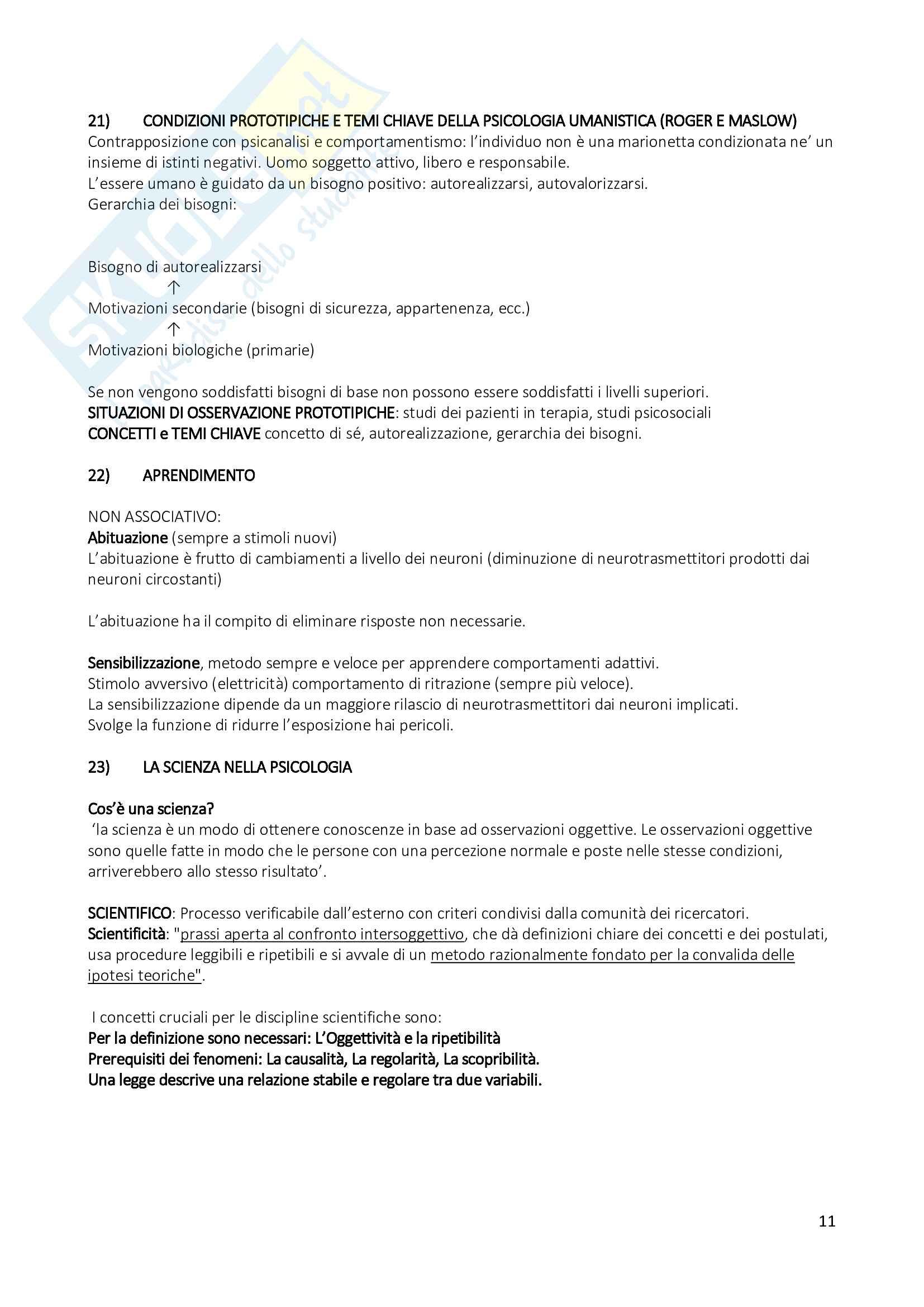Psicologia Generale - Risposte alle possibili domande esame - Tagliabue - Campana Pag. 11