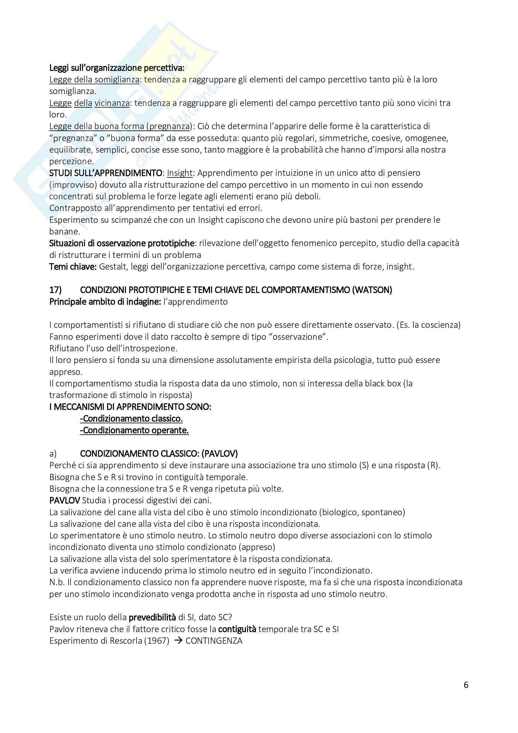 Psicologia Generale - Risposte alle possibili domande esame - Tagliabue - Campana Pag. 6