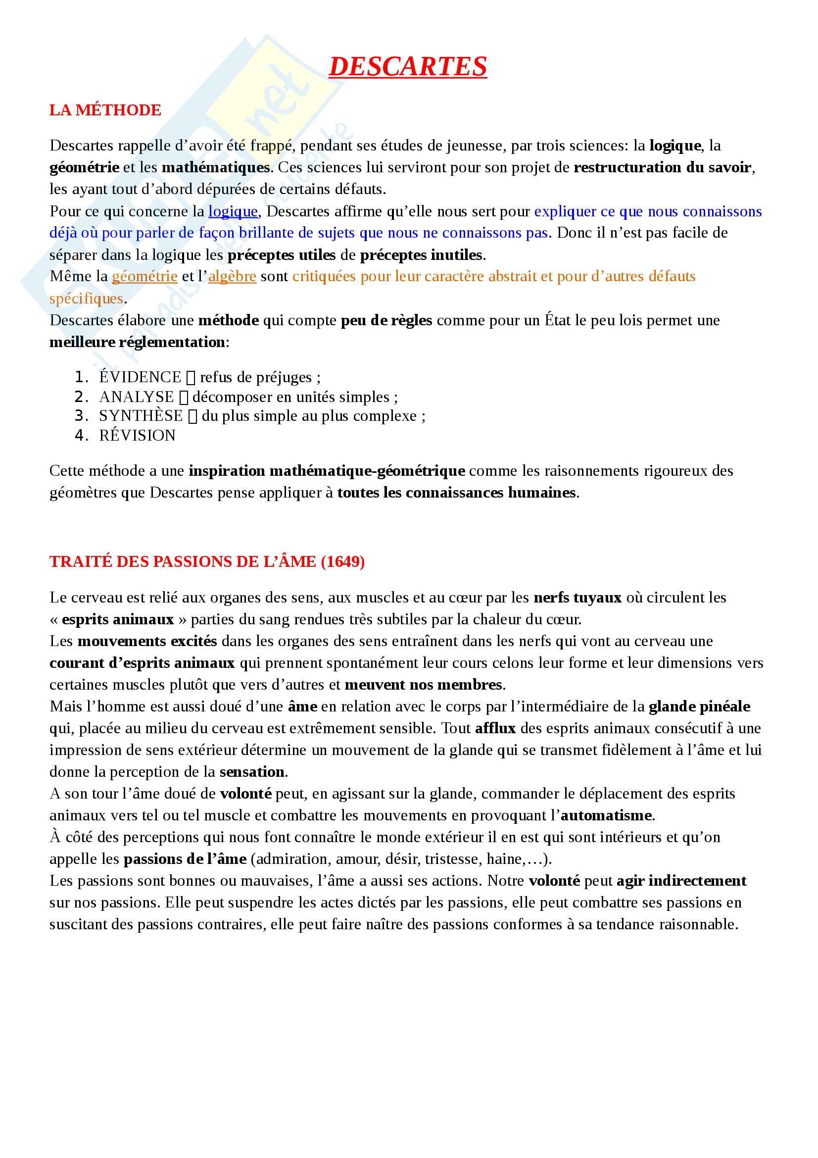 Letteratura francese - Descartes