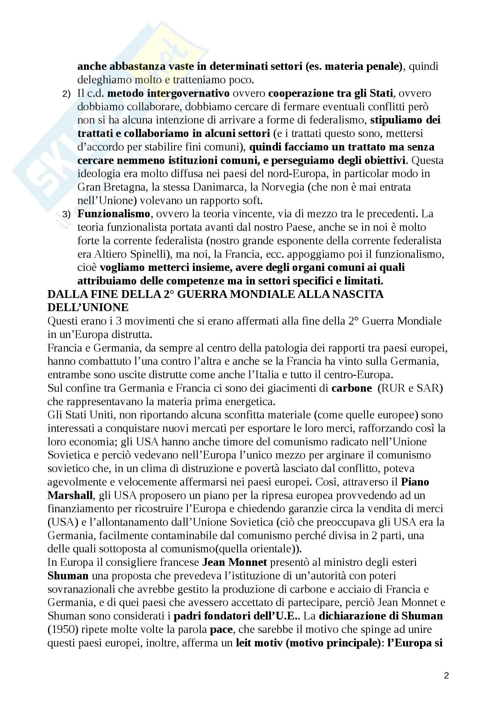 Riassunto esame Diritto dell'Unione Europea, prof. De Pasquale, libro consigliato Diritto dell'Unione Europea, Tesauro Pag. 2
