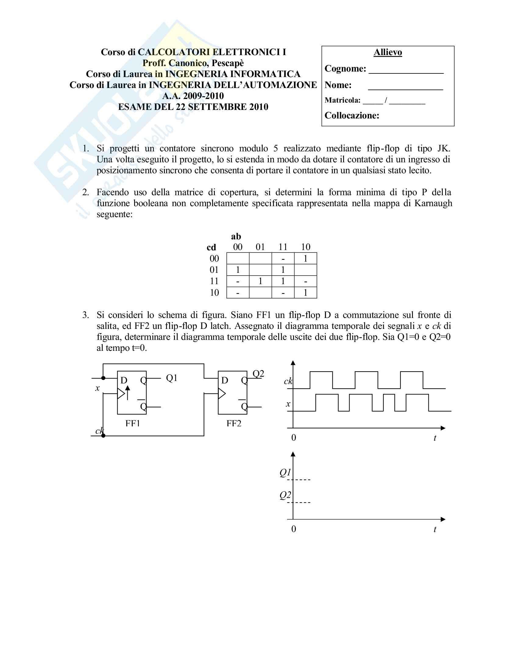 esercitazione R. Canonico Calcolatori elettronici I