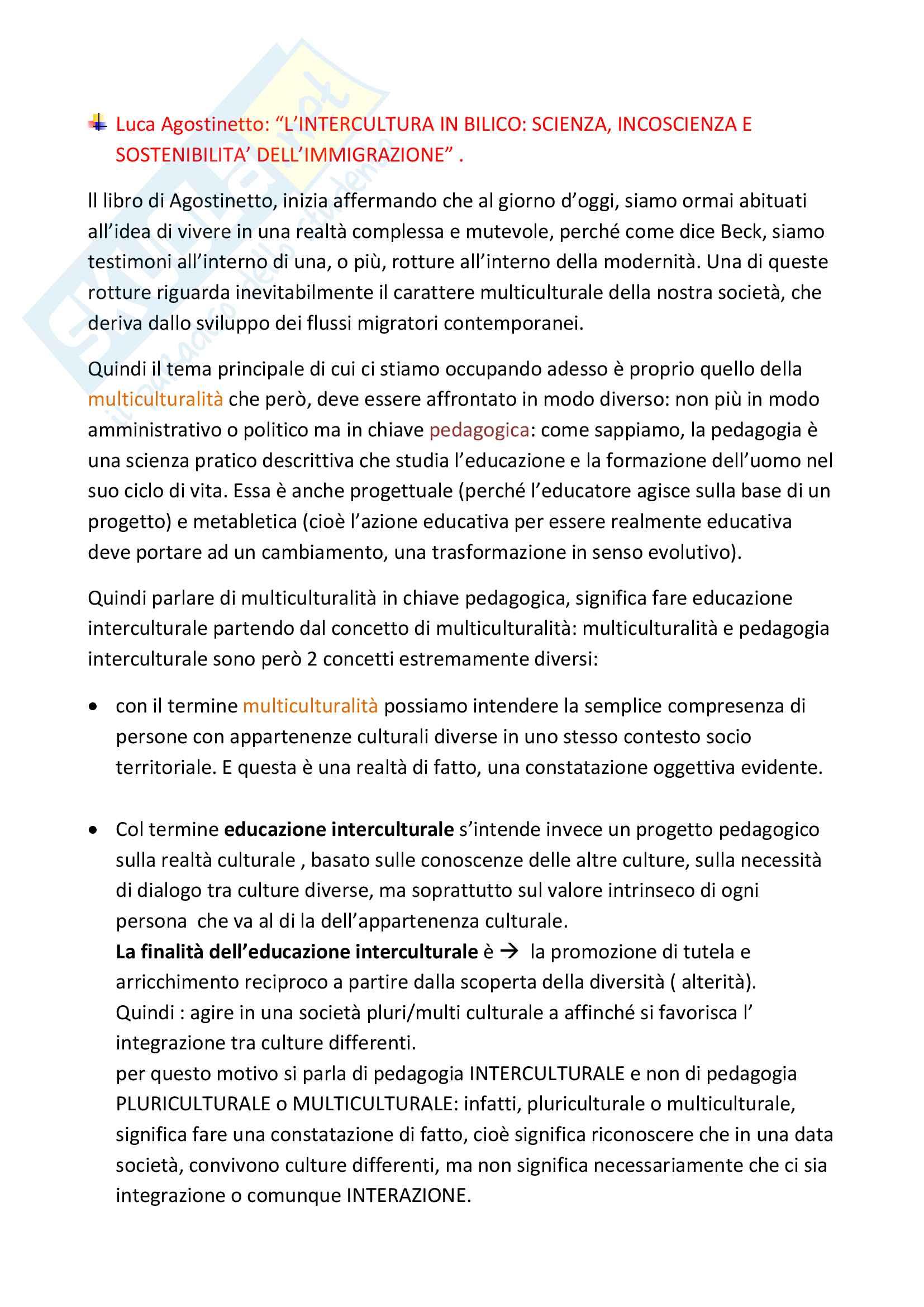 """Riassunto esame Pedagogia Interculturale, Prof. Luca Agostinetto, Libro consigliato """" l'intercultura in bilico:scienza,incoscienza e sostenibilità dell'immigrazione"""", Agostinetto"""