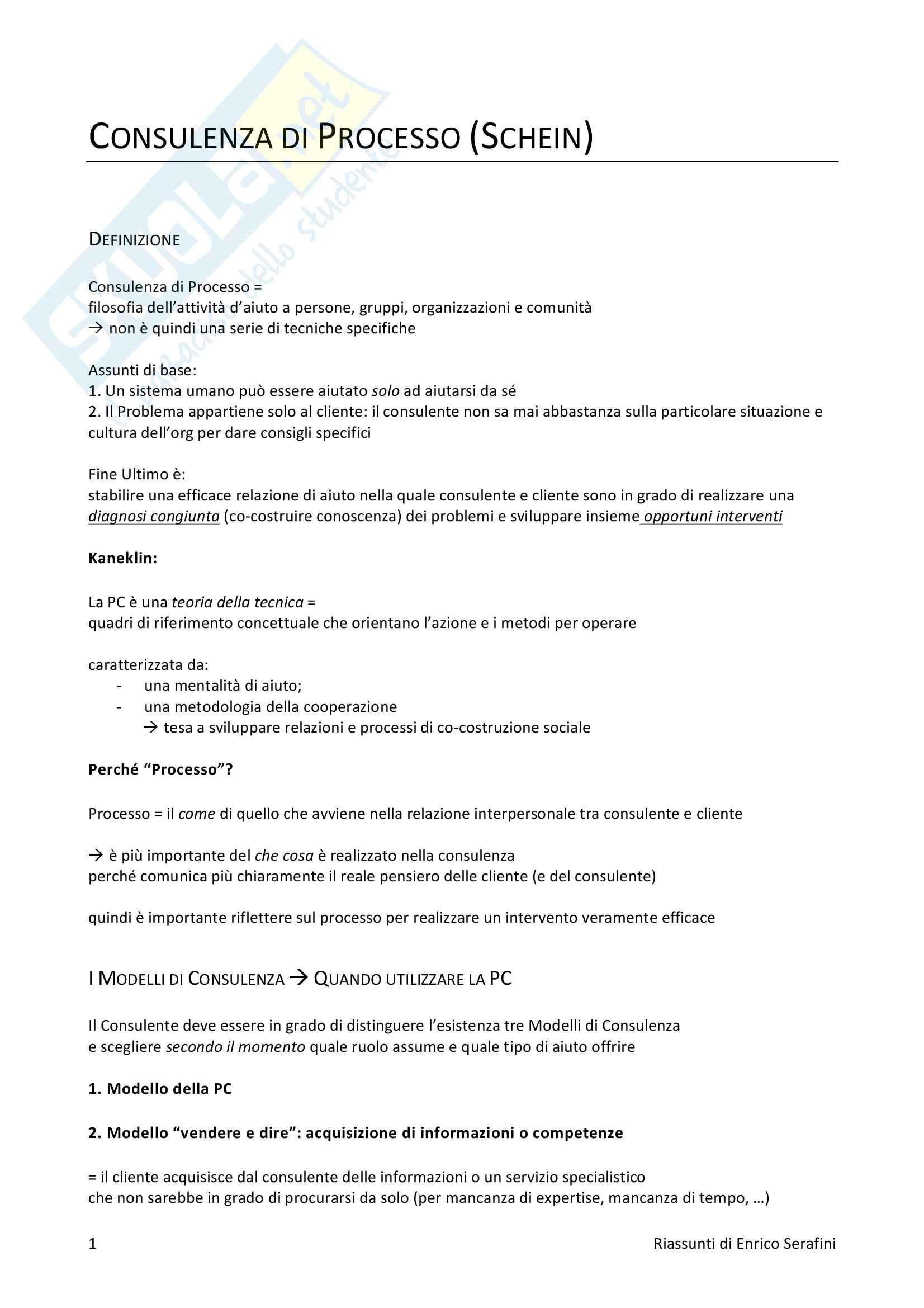 Riassunto esame Metodi e tecniche della consulenza di processo, docente Maritan, libro consigliato La consulenza di processo, Schein