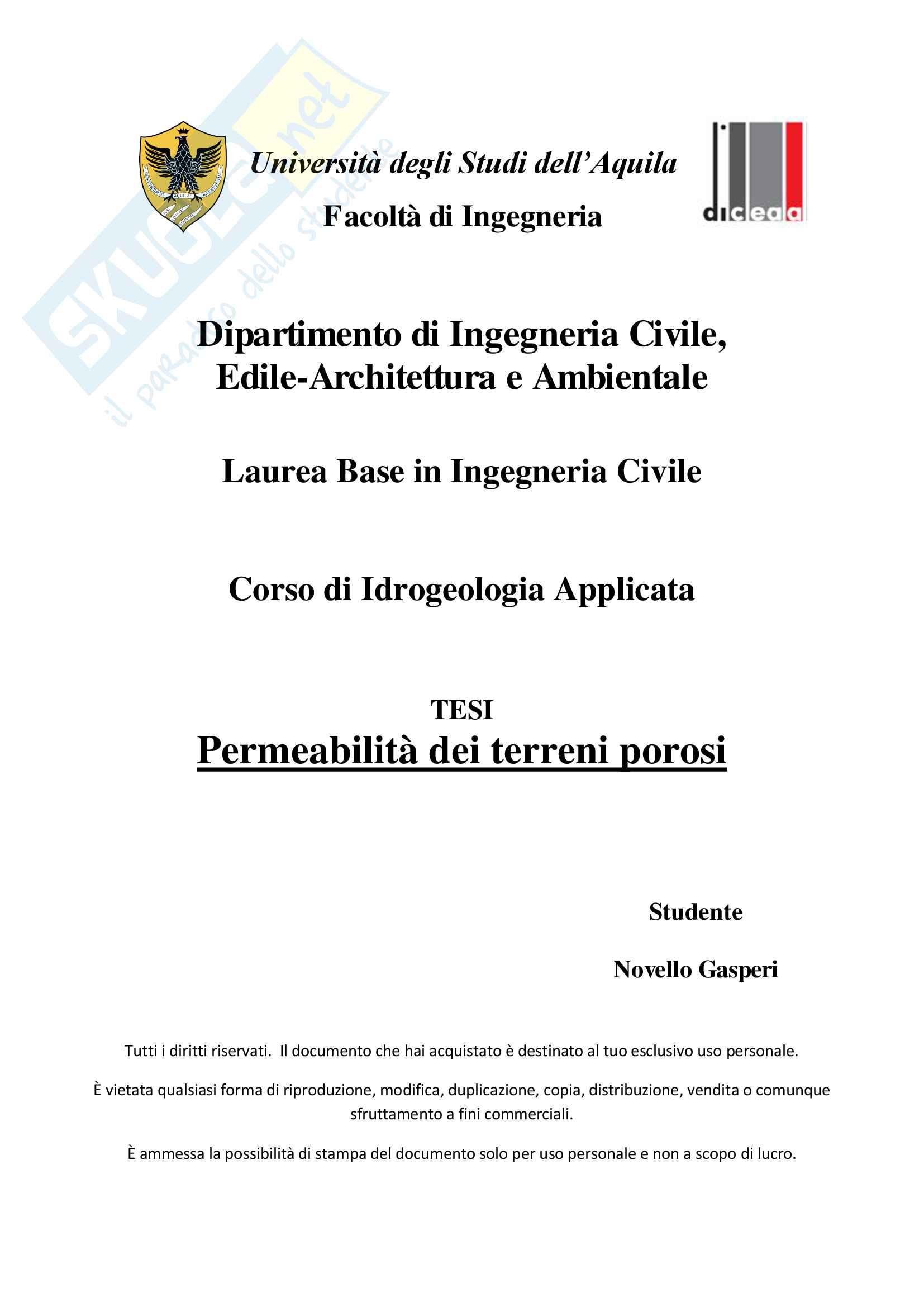 Permeabilità dei terreni porosi (pdf)