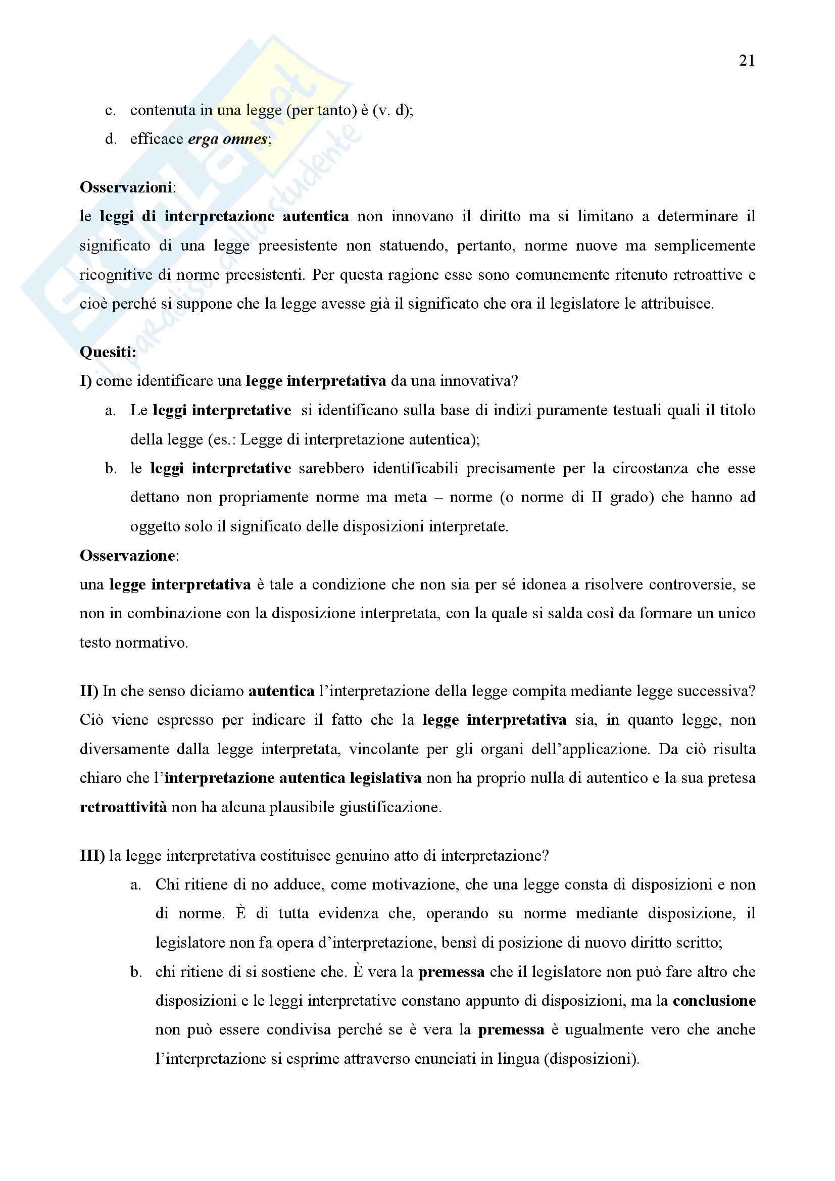 Riassunto esame Teoria dell'Interpretazione, prof. Omaggio, libro consigliato Interpretazione dei Documenti Normativi, Guastini Pag. 21