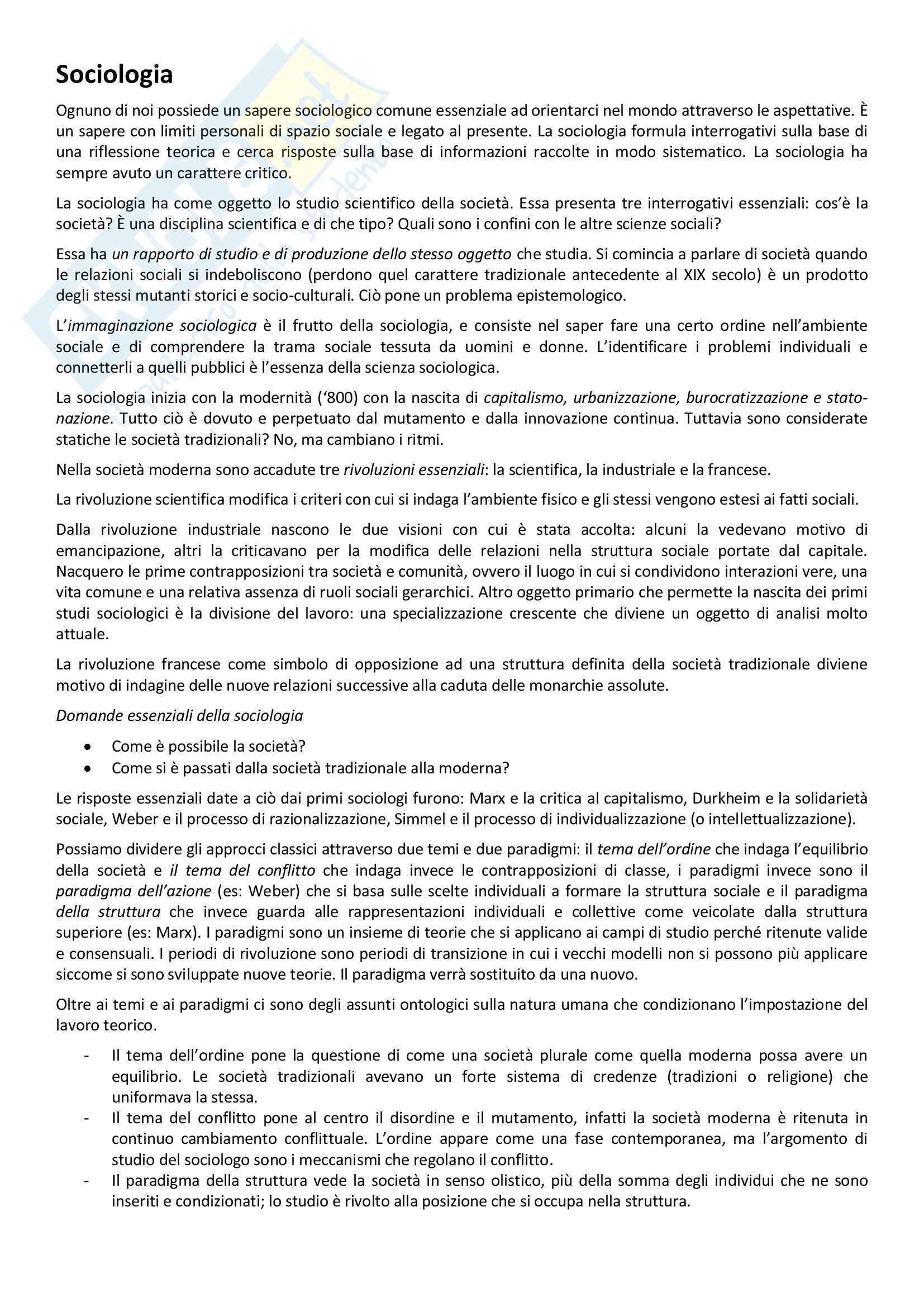 Appunto Sociologia, prof. Marchisio