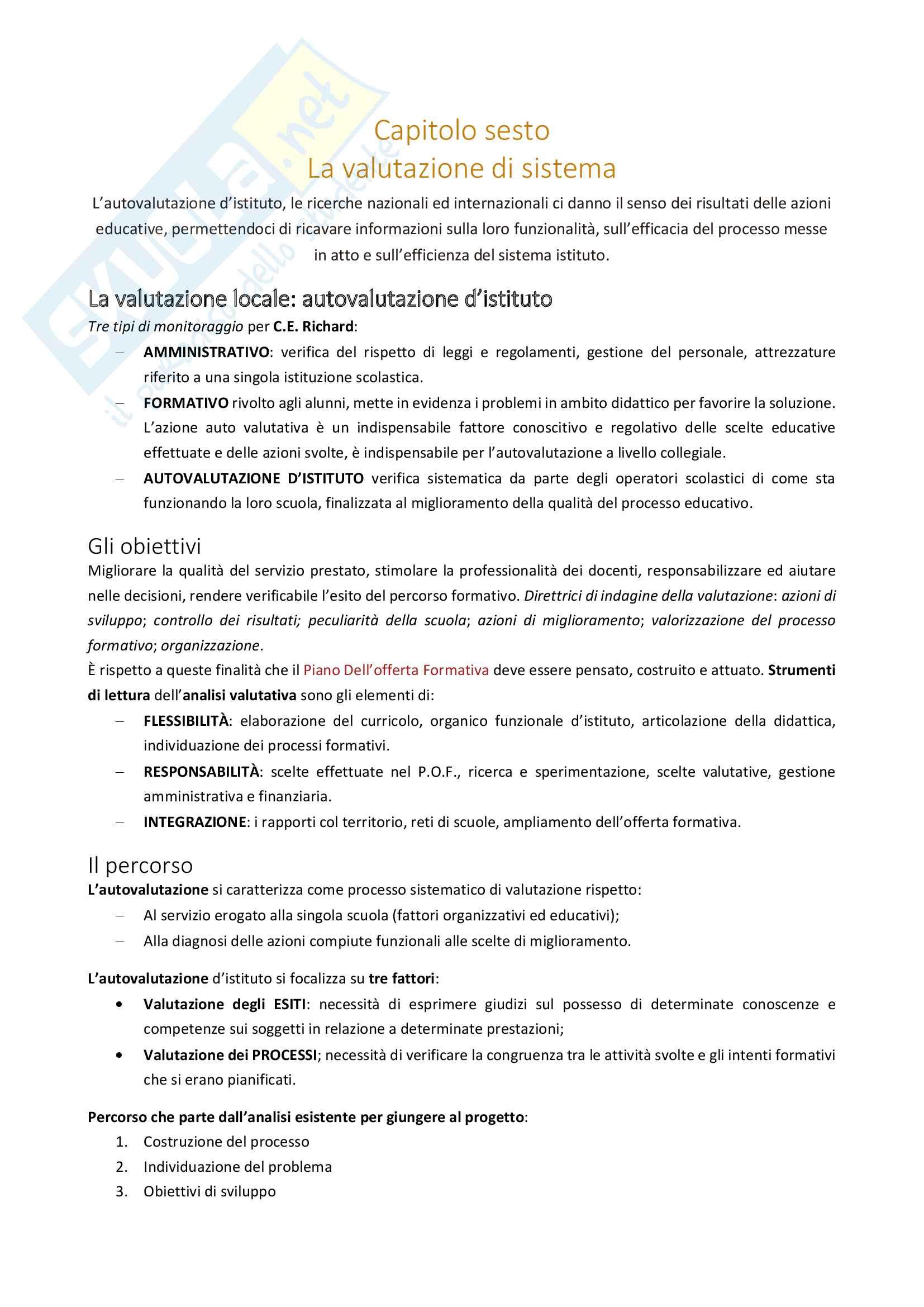 Riassunto esame Pedagogia Sperimentale, docente Achille M. Notti, libro consigliato Valutazione e contesto educativo, Achille M. Notti Pag. 16